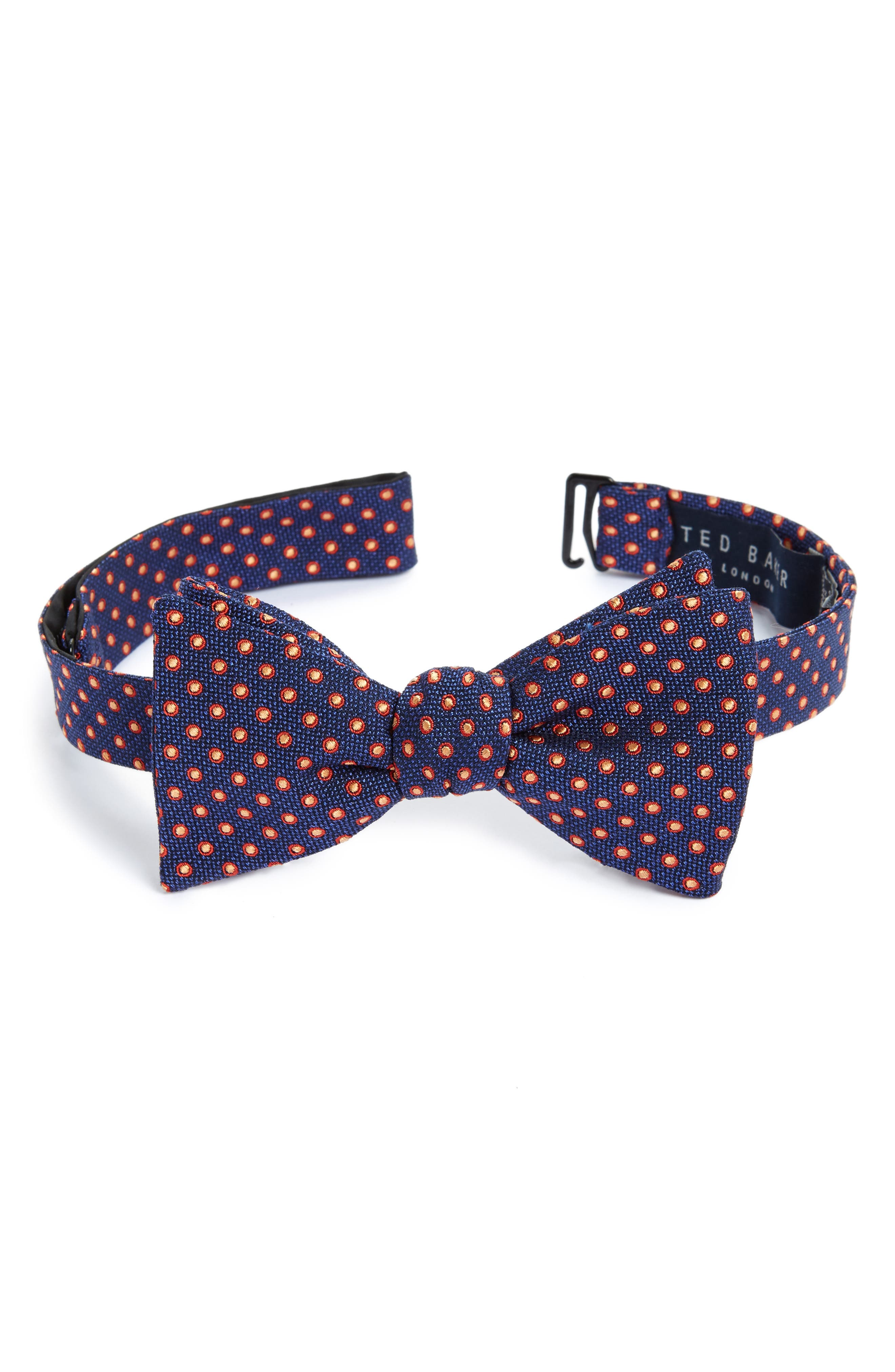Fancy Dots Silk & Cotton Bow Tie,                         Main,                         color, Navy