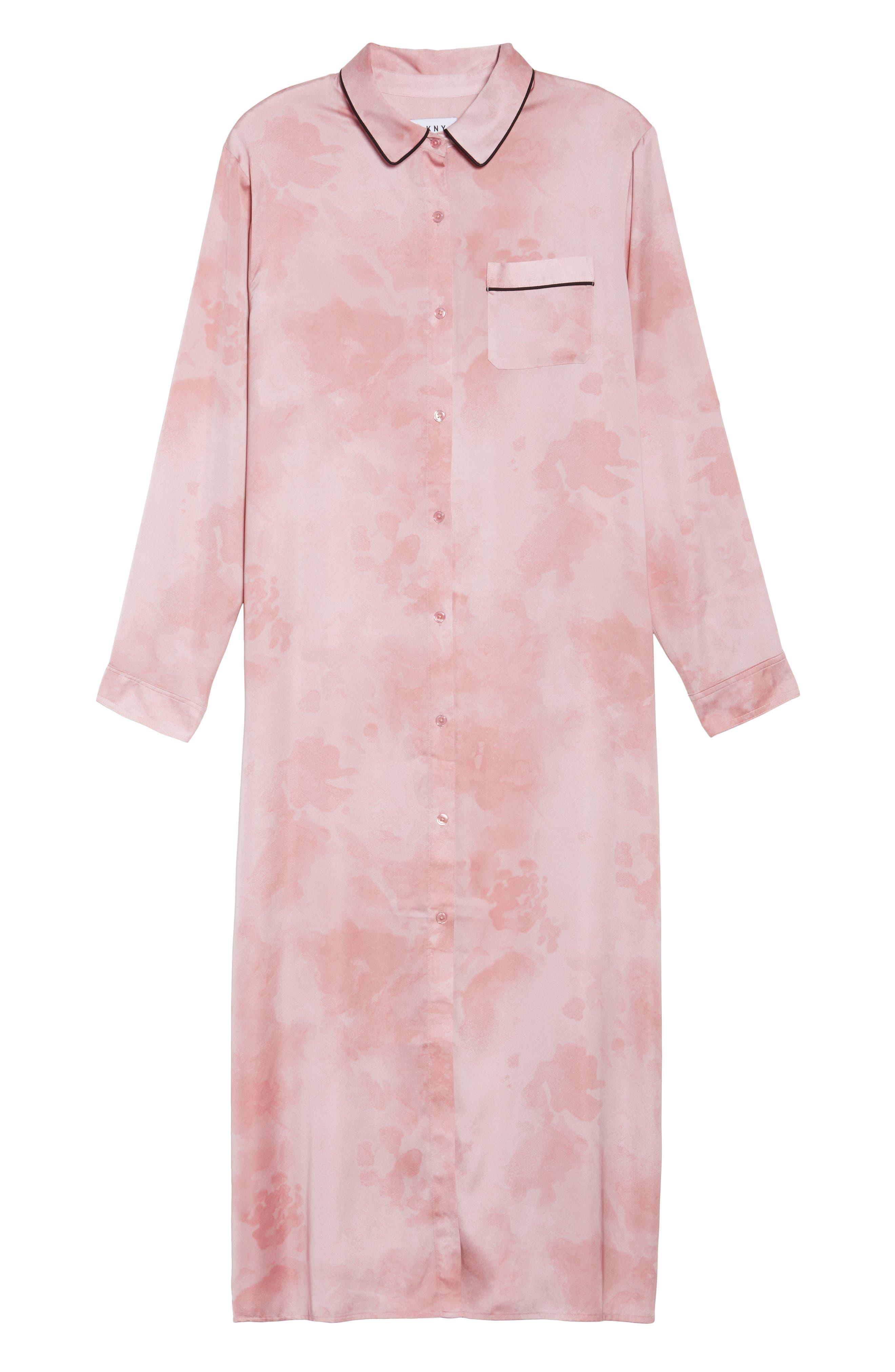 Washed Satin Maxi Sleep Shirt,                             Alternate thumbnail 6, color,                             Pink Floral