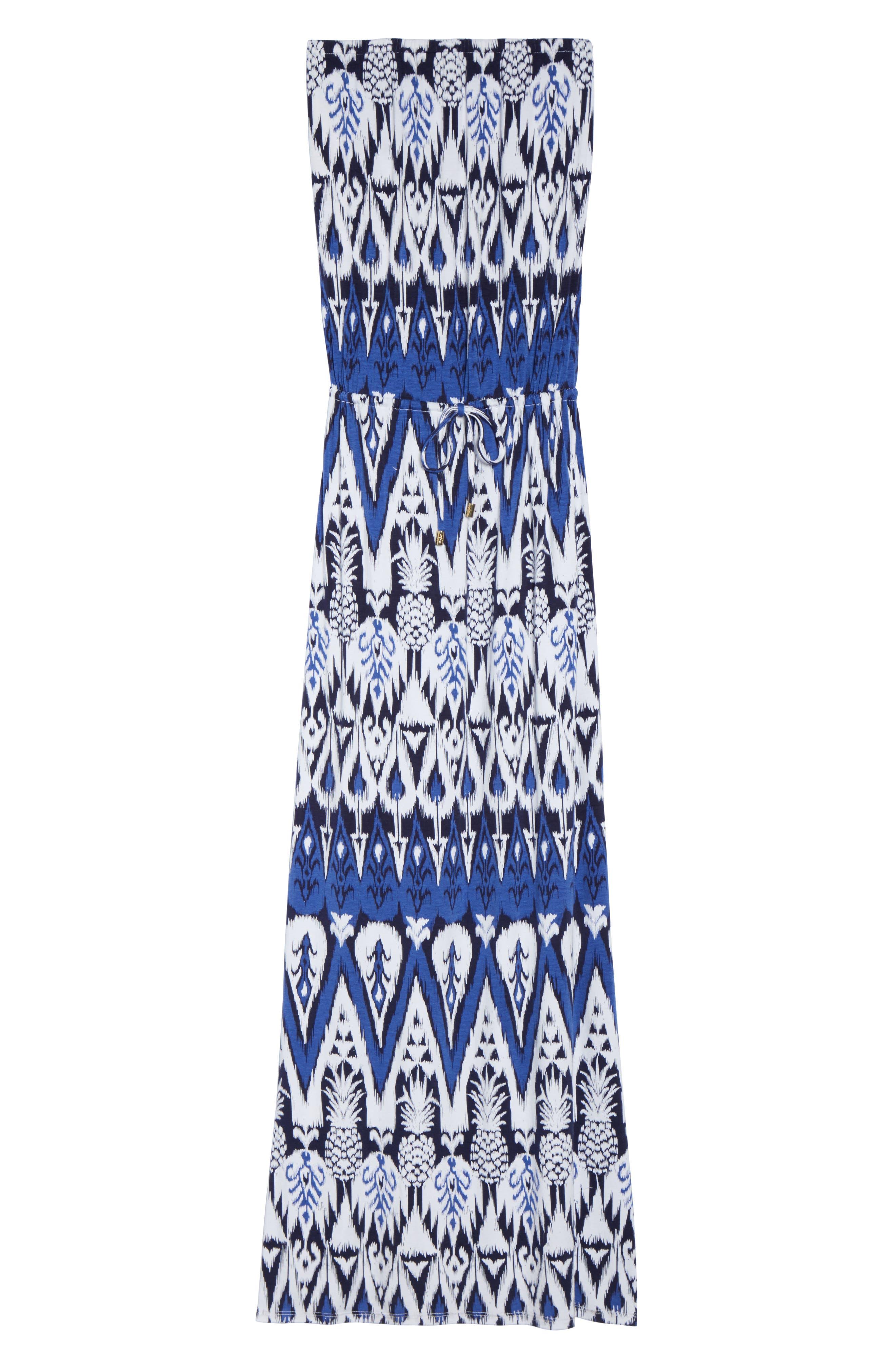 Pineapple Ikat Cover-Up Bandeau Maxi Dress,                             Alternate thumbnail 6, color,                             Dark Sanibel