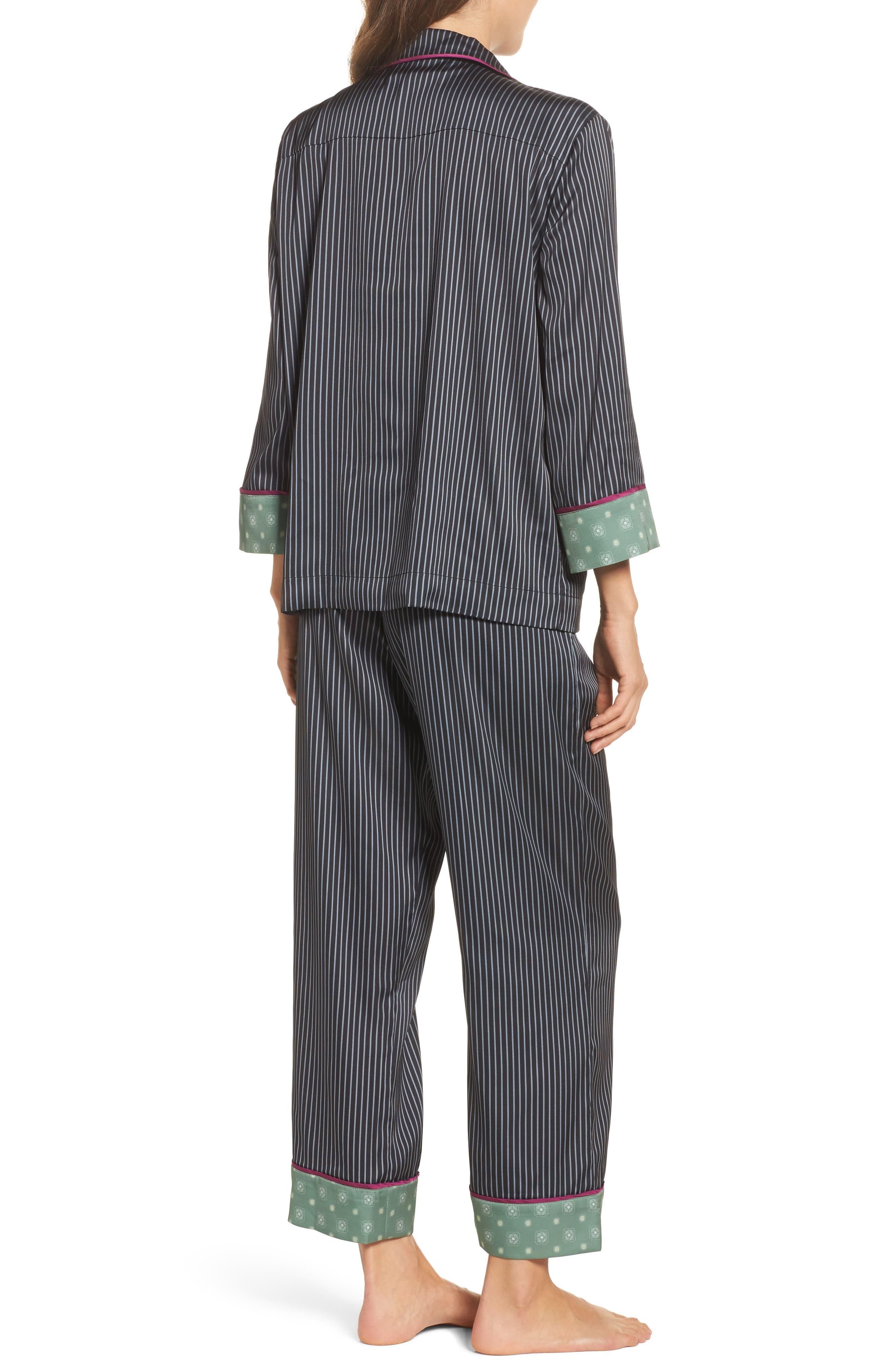Alternate Image 2  - Bed to Brunch Pinstripe Crop Pajamas