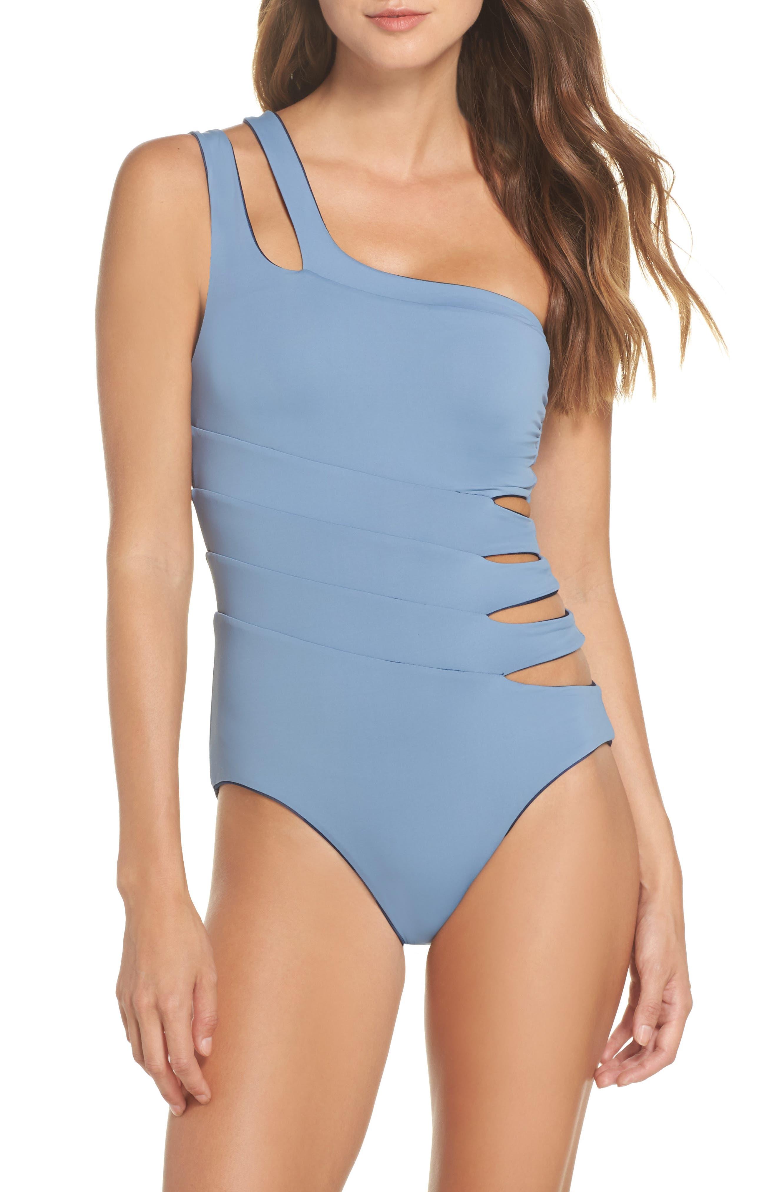 Reversible Asymmetrical One-Piece Swimsuit,                             Alternate thumbnail 2, color,                             Indigo