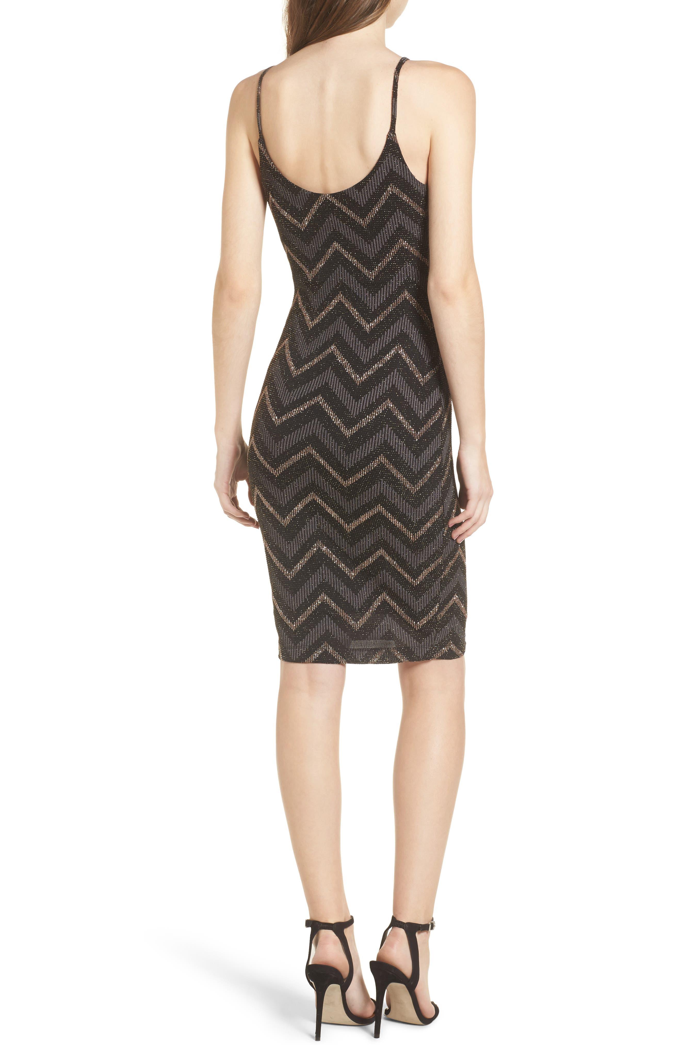 Love Nickie Lew Metallic Chevron Stripe Midi Dress,                             Alternate thumbnail 2, color,                             Black/ Copper