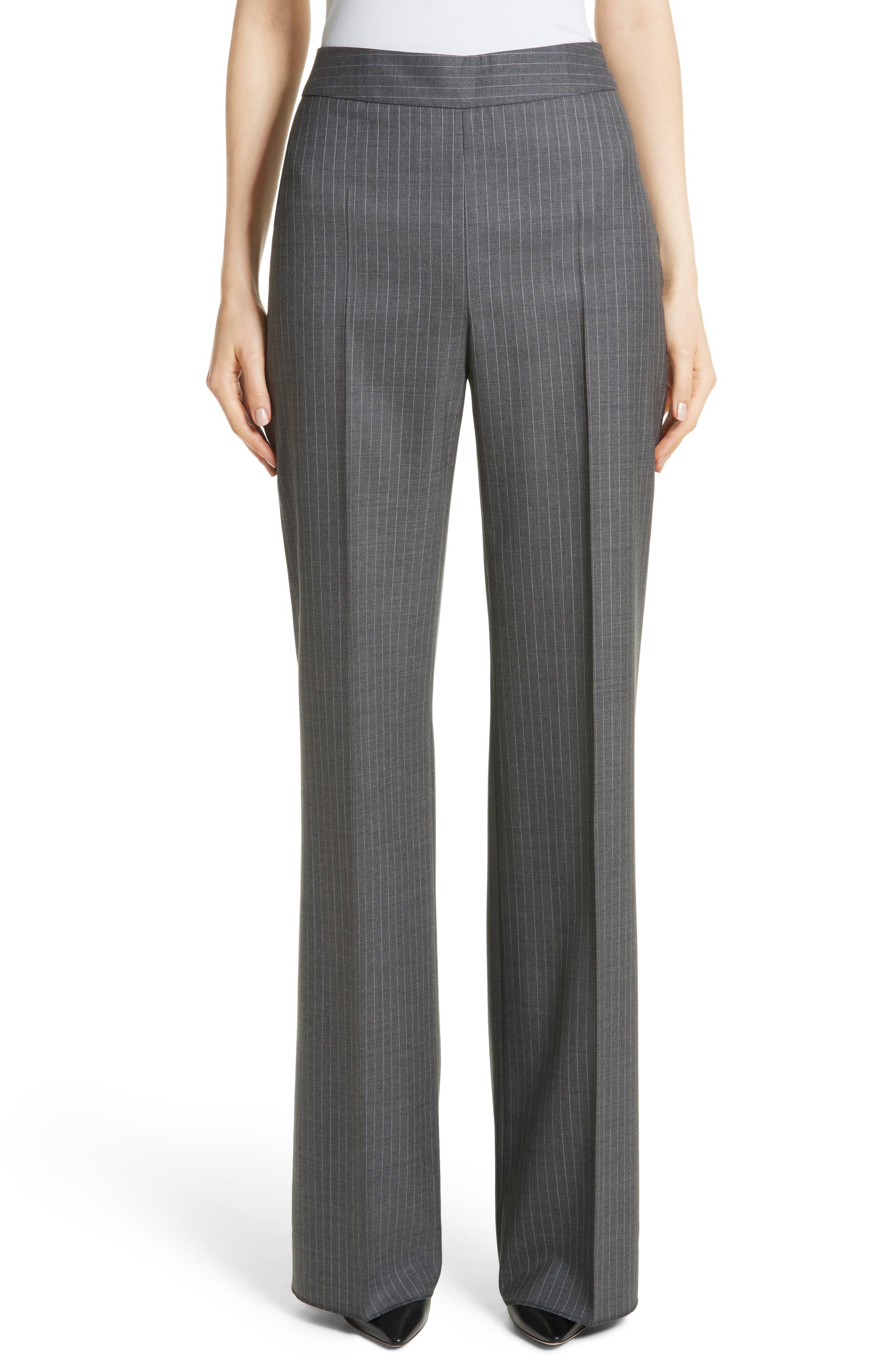 Max Mara Garibo Stretch Wool Pinstripe Pants