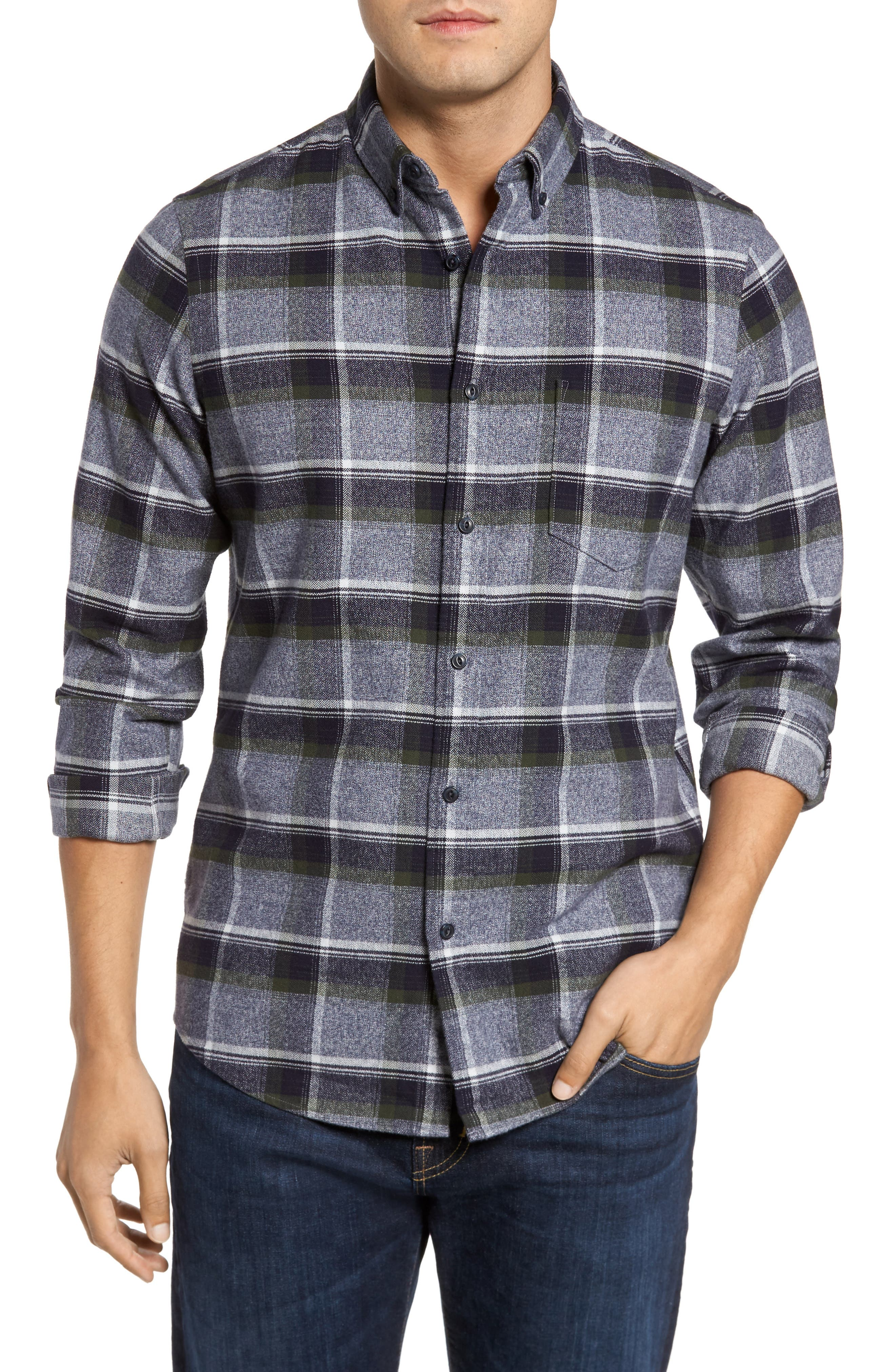 Regular Fit Plaid Flannel Shirt,                         Main,                         color, Navy Iris Olive Exploded Plaid