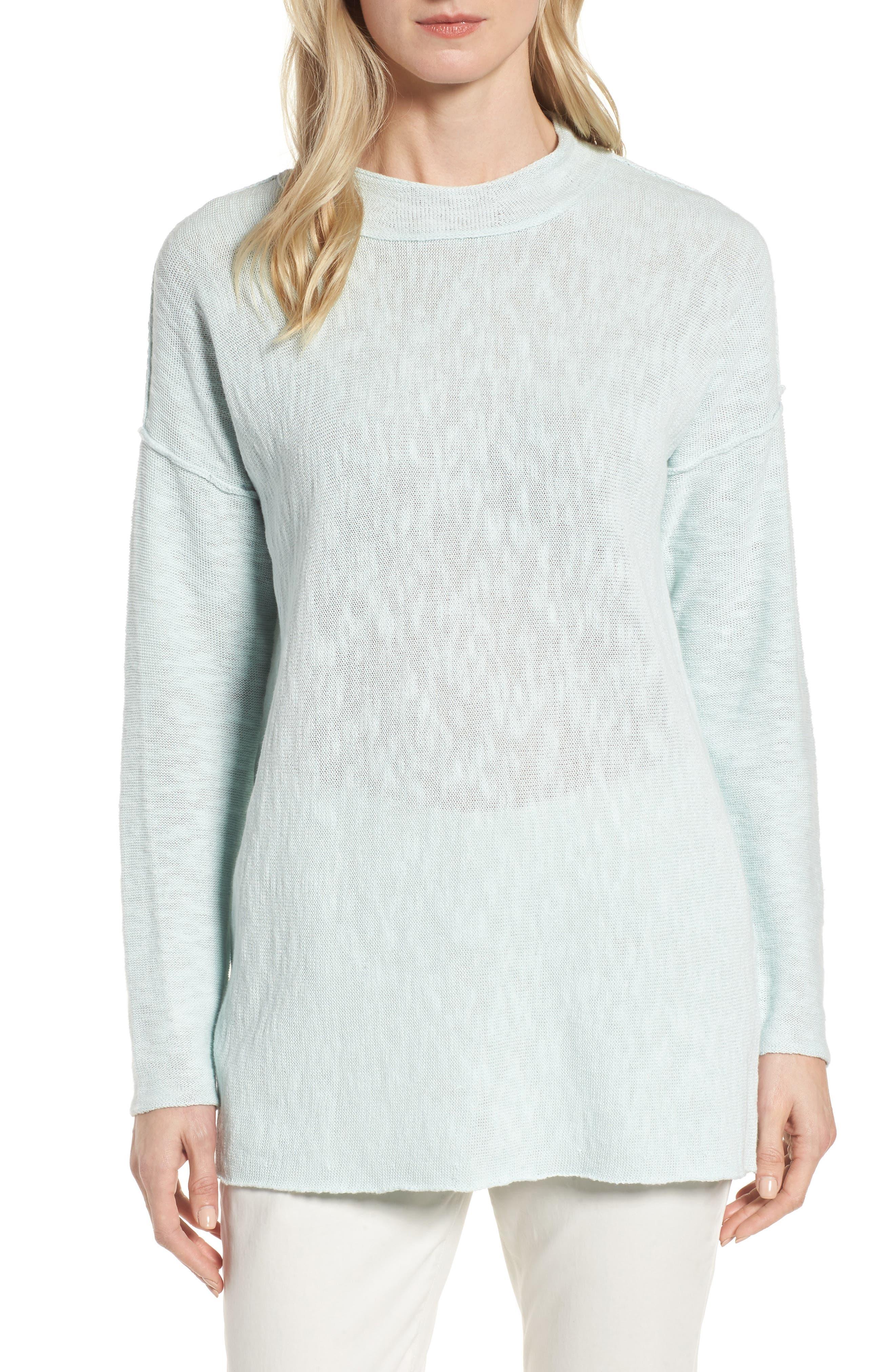 Organic Linen & Cotton Sweater,                         Main,                         color, Aurora