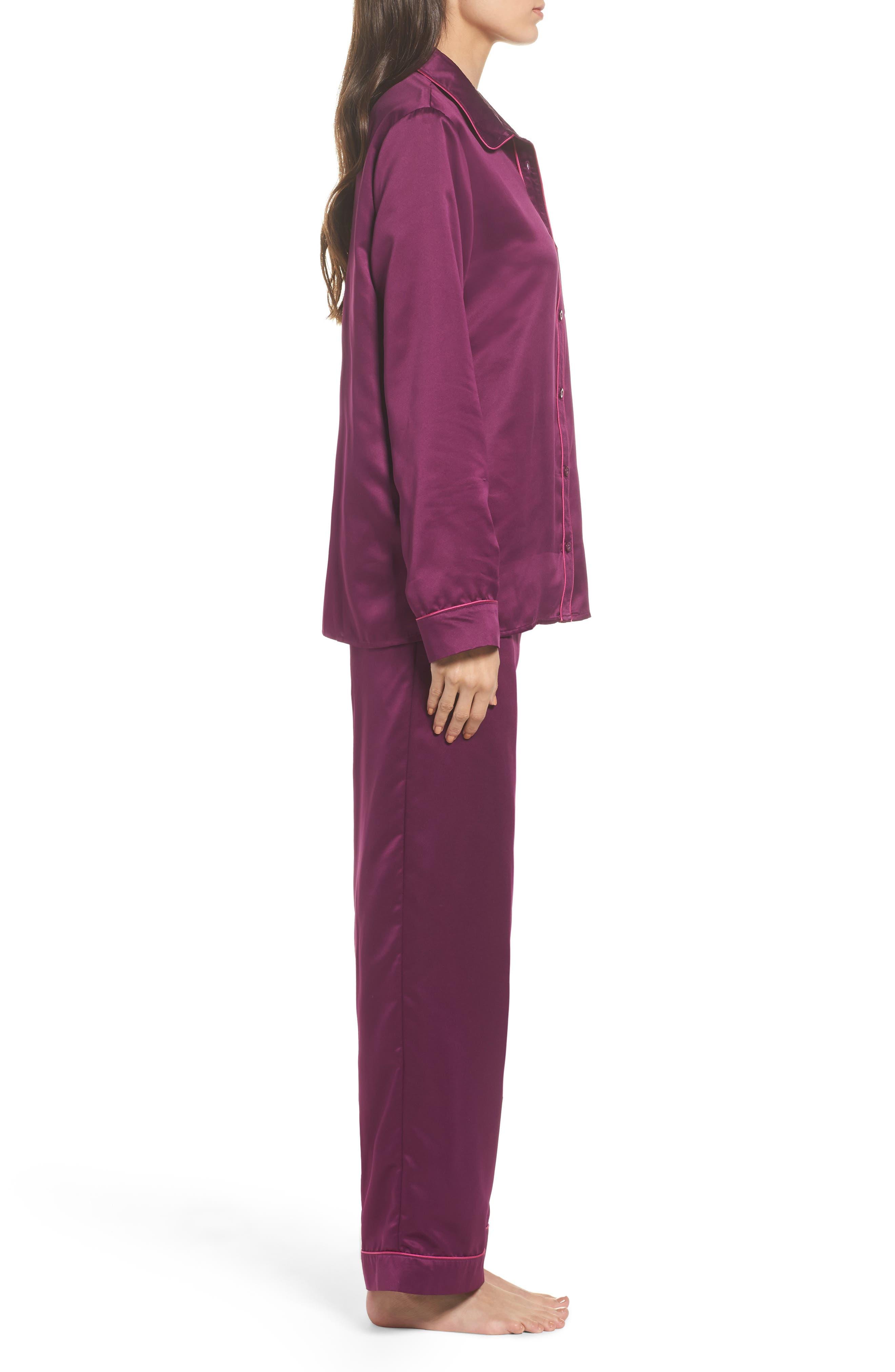 Satin Pajamas,                             Alternate thumbnail 3, color,                             Purple Dark
