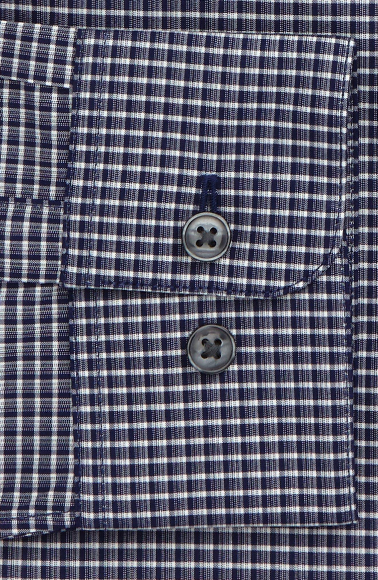 Slim Fit Stretch Check Dress Shirt,                             Alternate thumbnail 2, color,                             Indigo