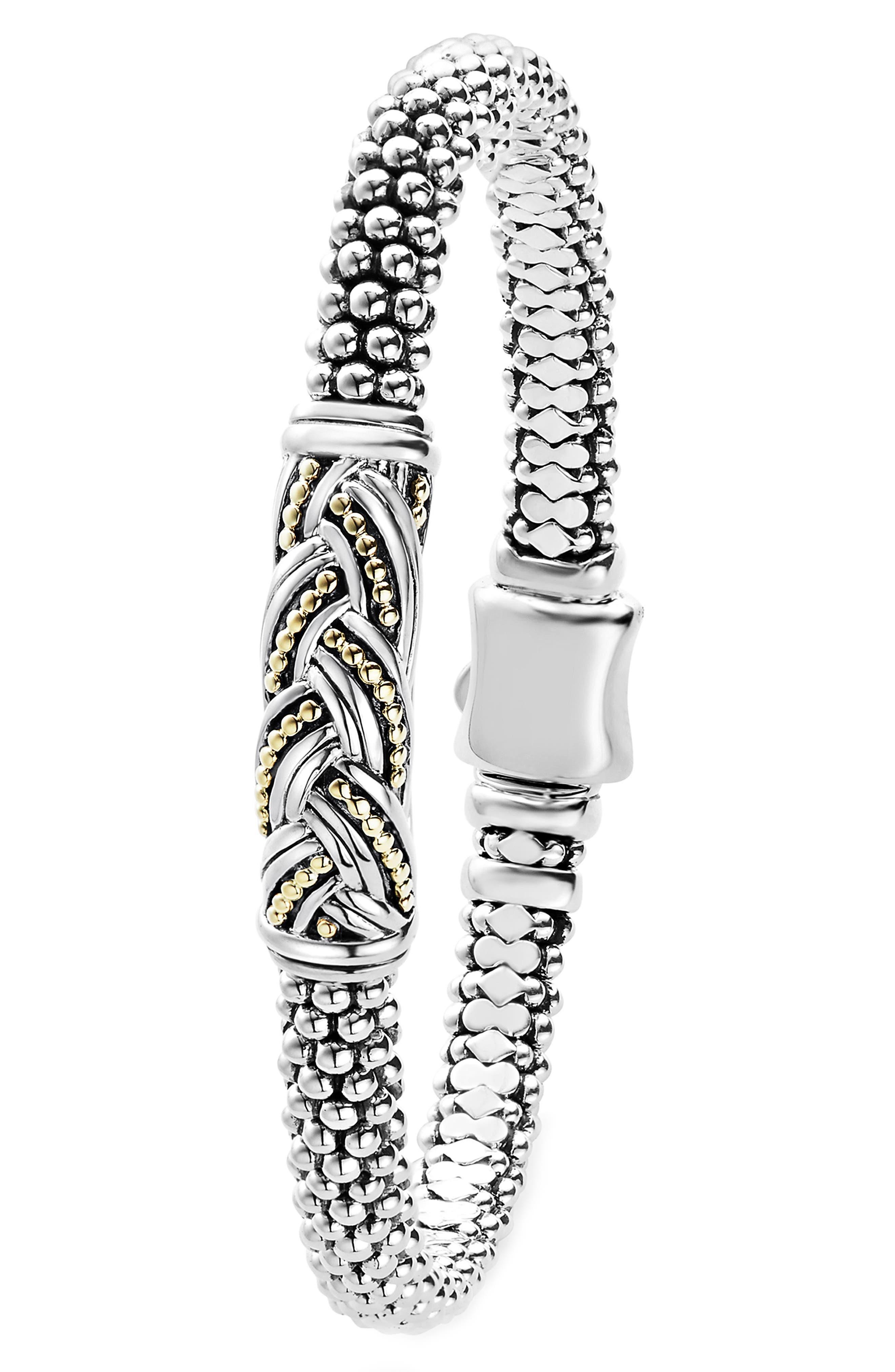 Torsade Small Station Bracelet,                             Alternate thumbnail 2, color,                             Silver/ Gold