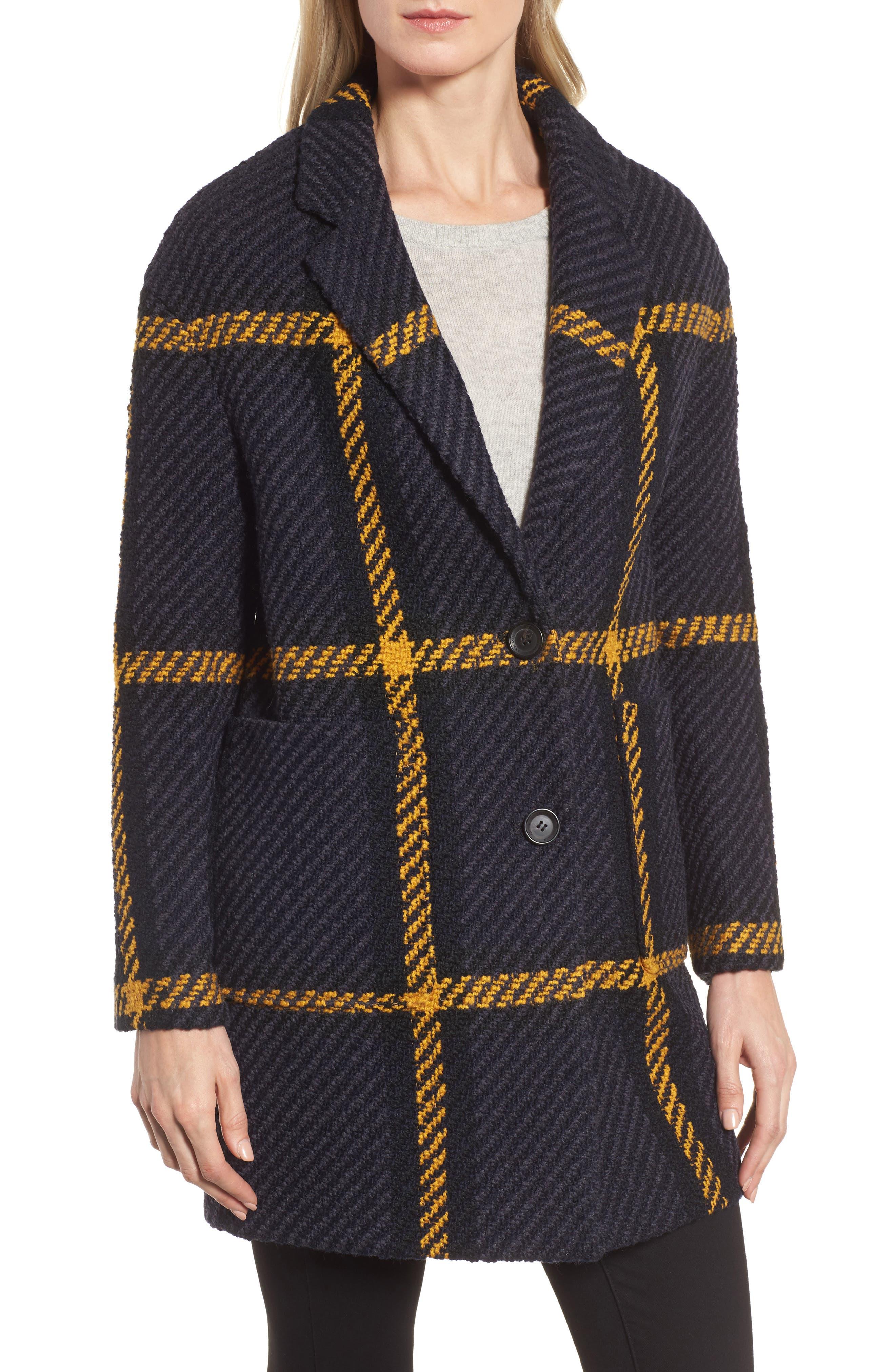 Alternate Image 4  - DKNY Textured Plaid Wool Blend Coat