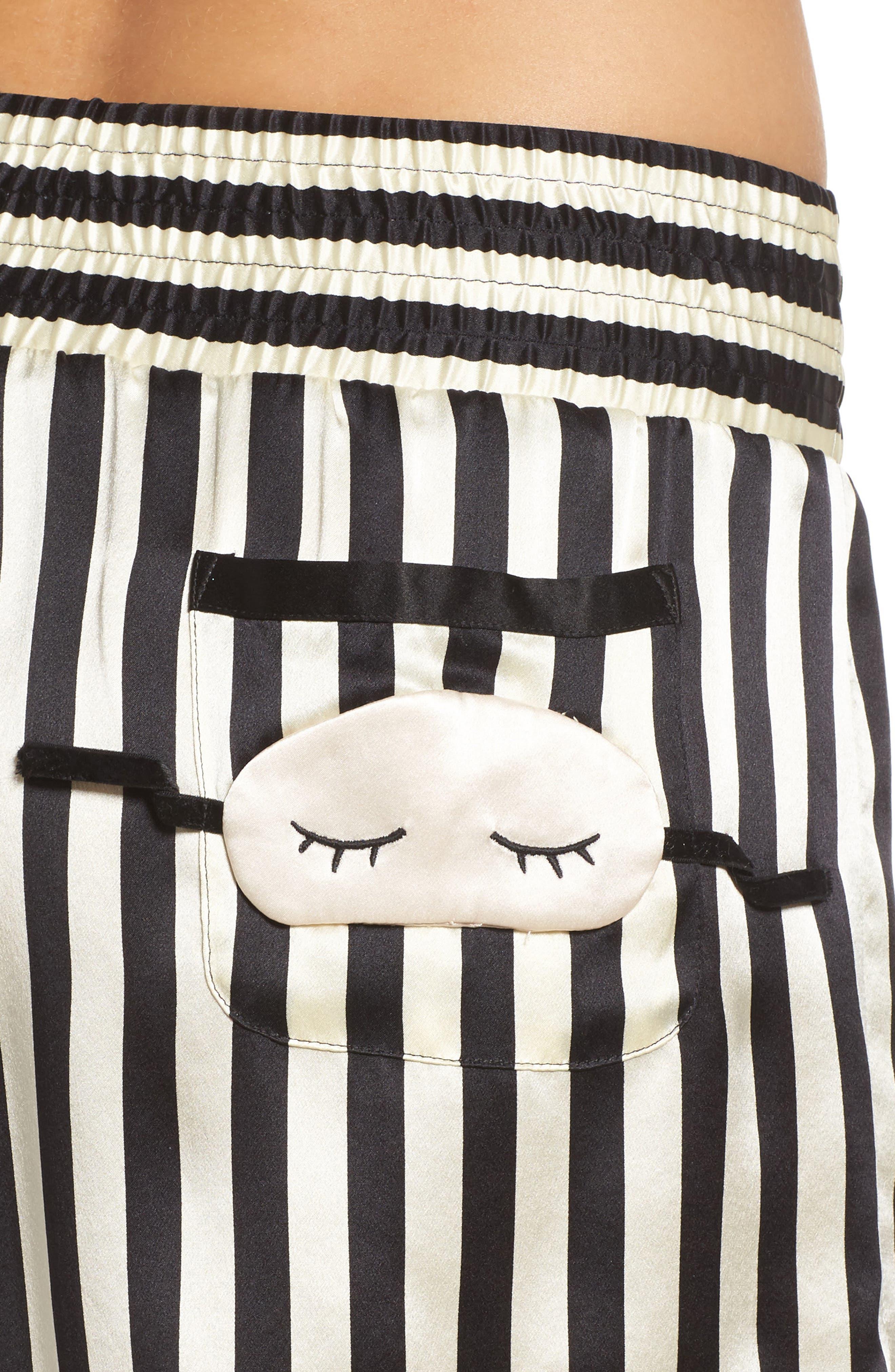 x Amanda Fatherazi Mini Mask Corey Stripe Silk Shorts,                             Alternate thumbnail 6, color,                             Noir/ Ecru