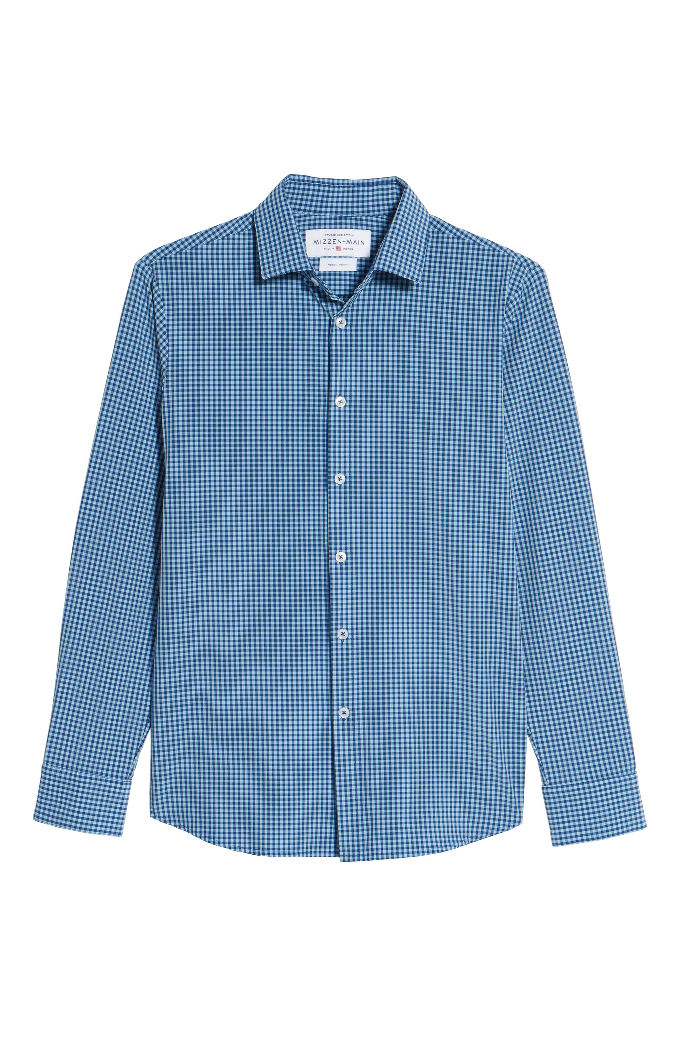 Brighton Blue Check Sport Shirt,                             Alternate thumbnail 6, color,                             Blue