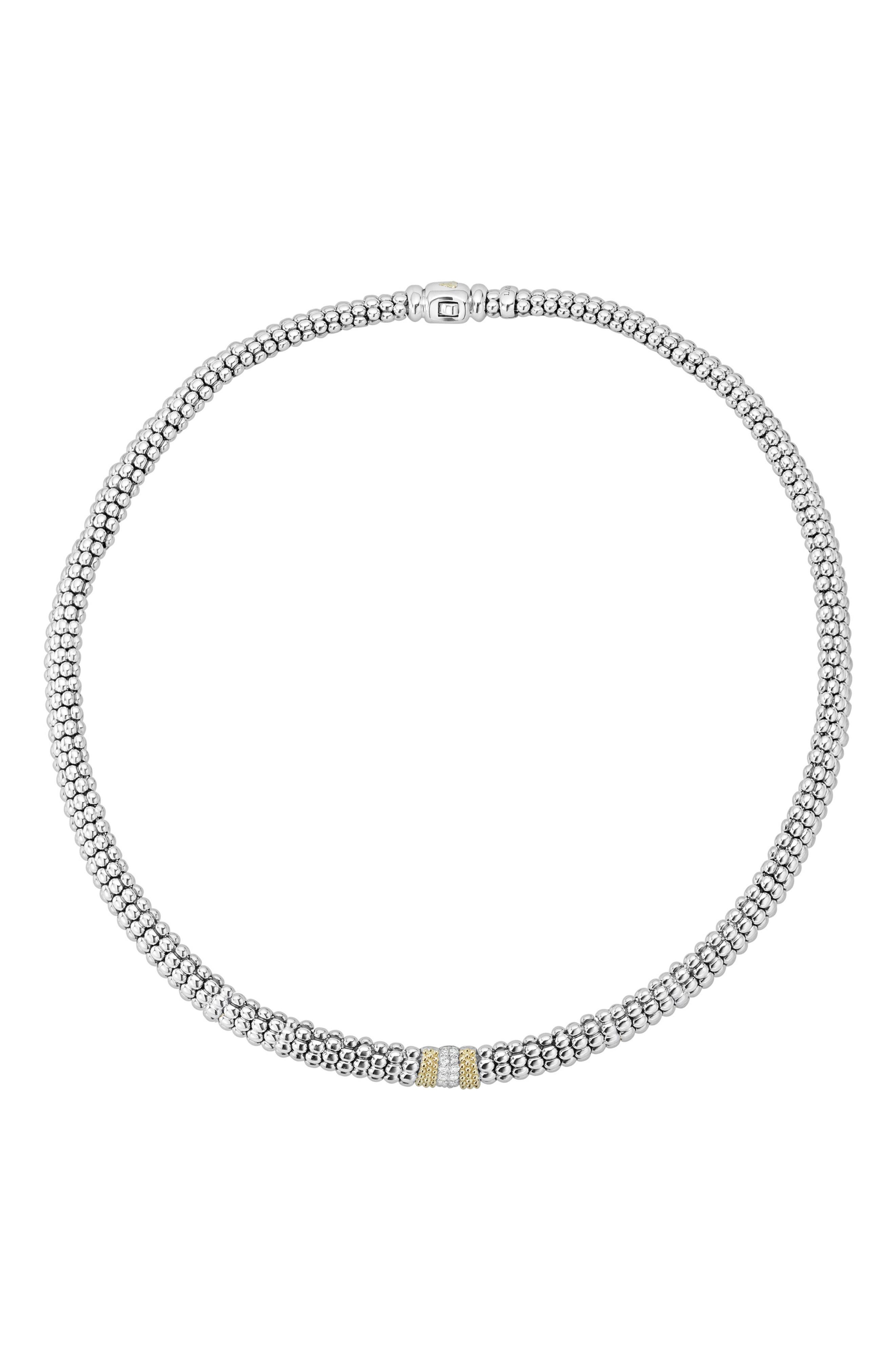 Diamond Lux Station Collar Necklace,                             Main thumbnail 1, color,                             Silver/ Diamond