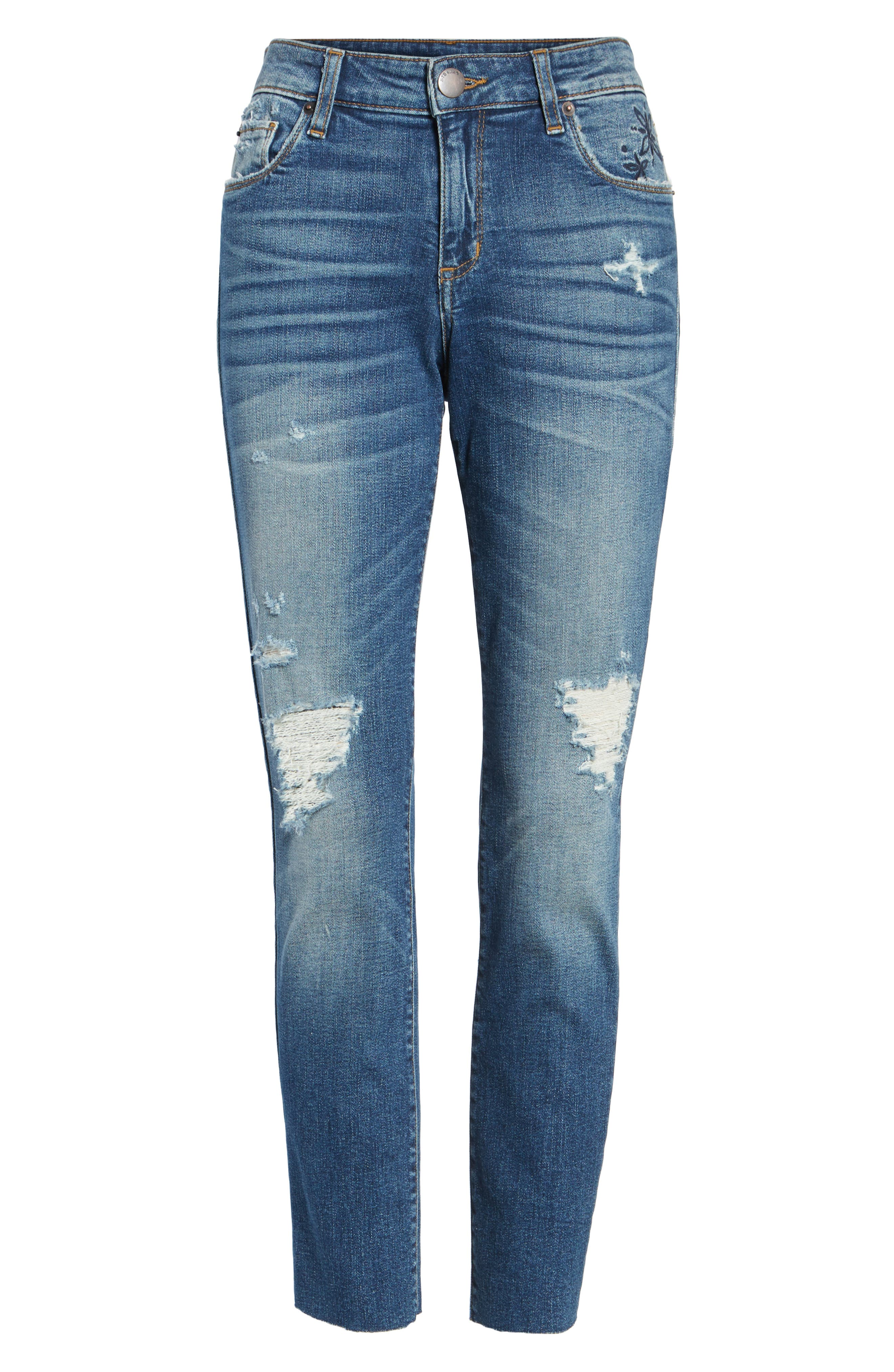 Taylor Distressed and Embroidered Straight Leg Jeans,                             Alternate thumbnail 6, color,                             Rosedale
