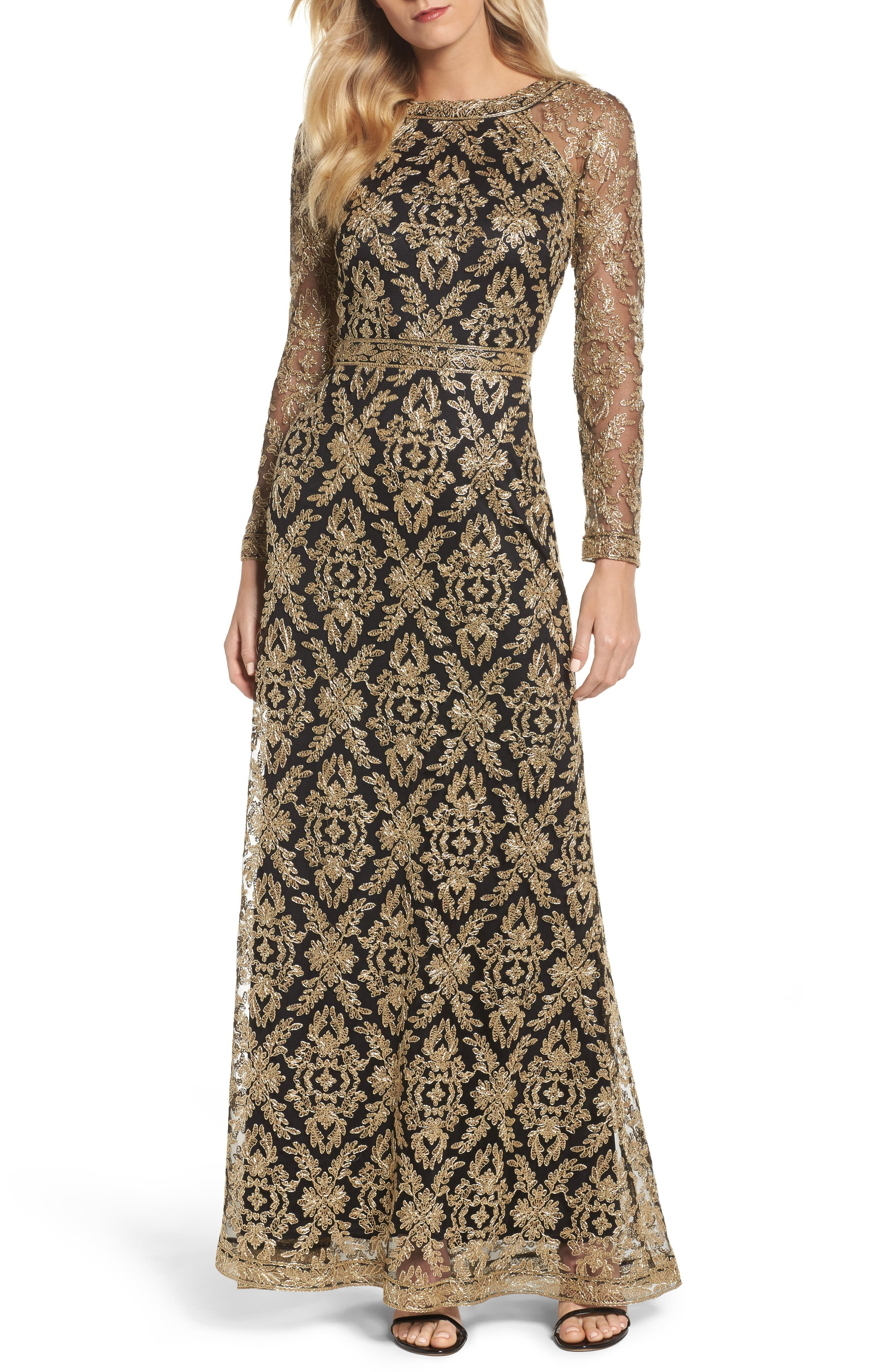 Embroidered Lace Gown,                         Main,                         color, Gold/ Black