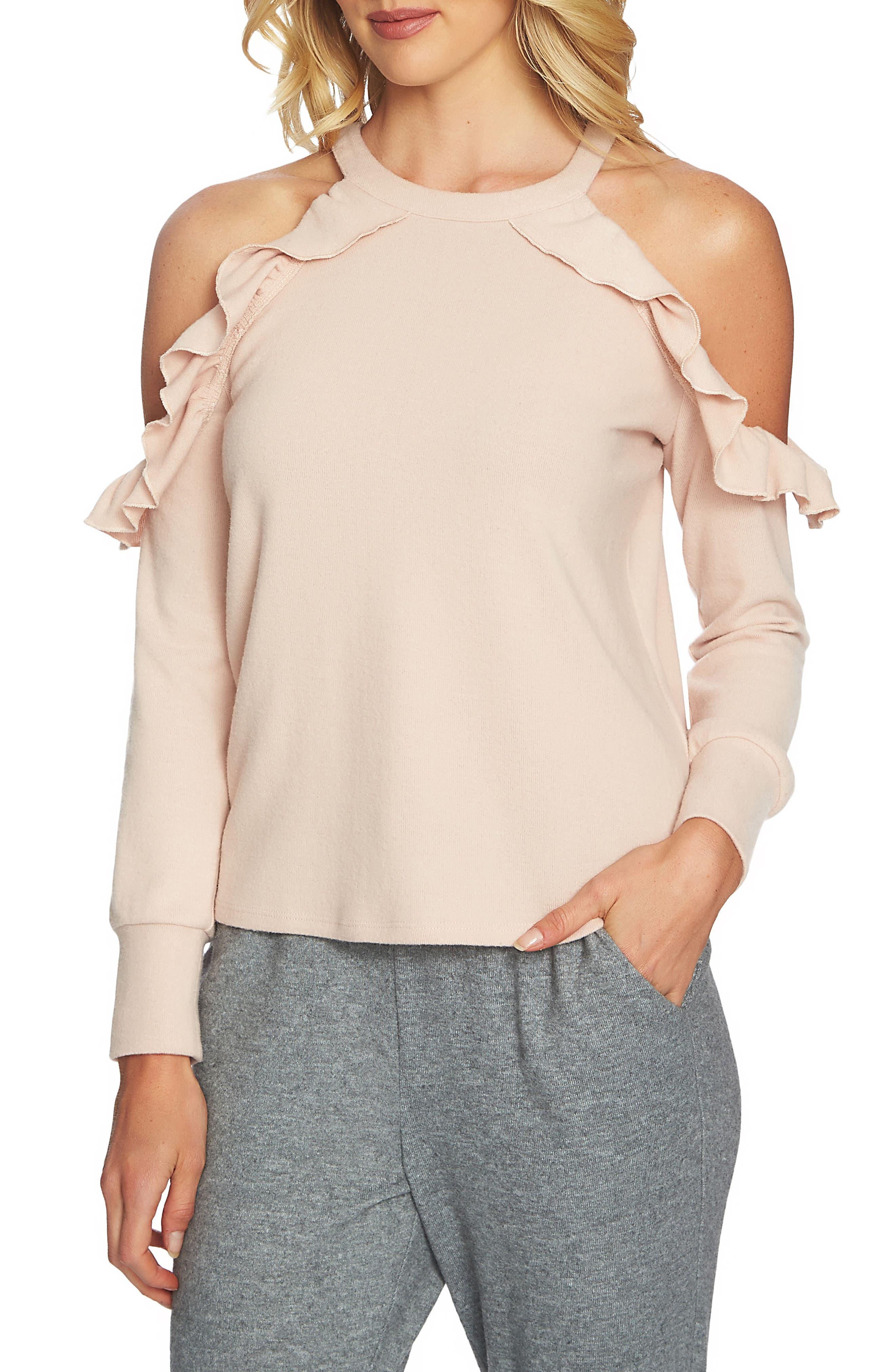 The Cozy Cold Shoulder Knit Top,                         Main,                         color, 897-Blush Frost