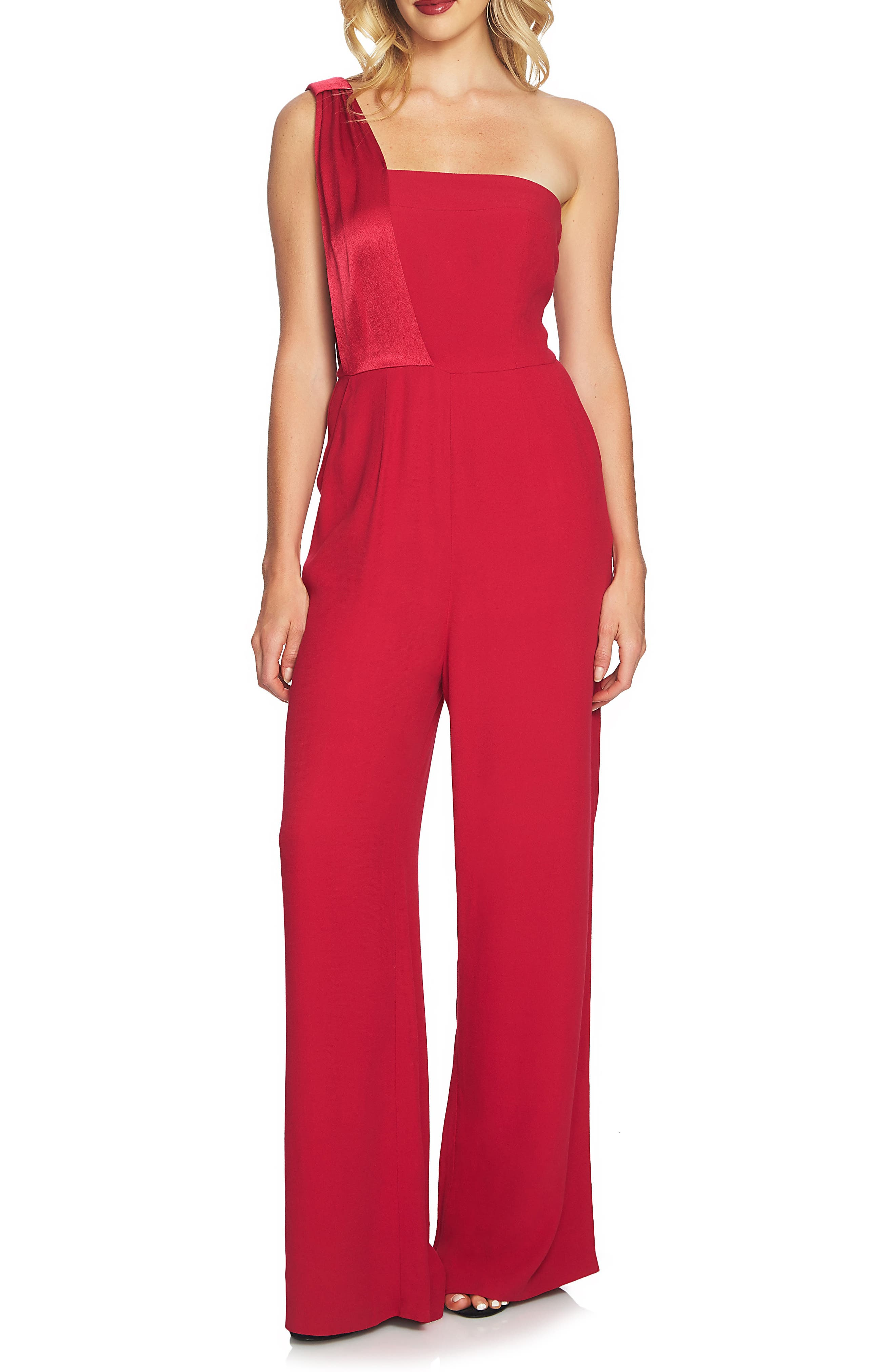 One Shoulder Jumpsuit,                         Main,                         color, Persian Red