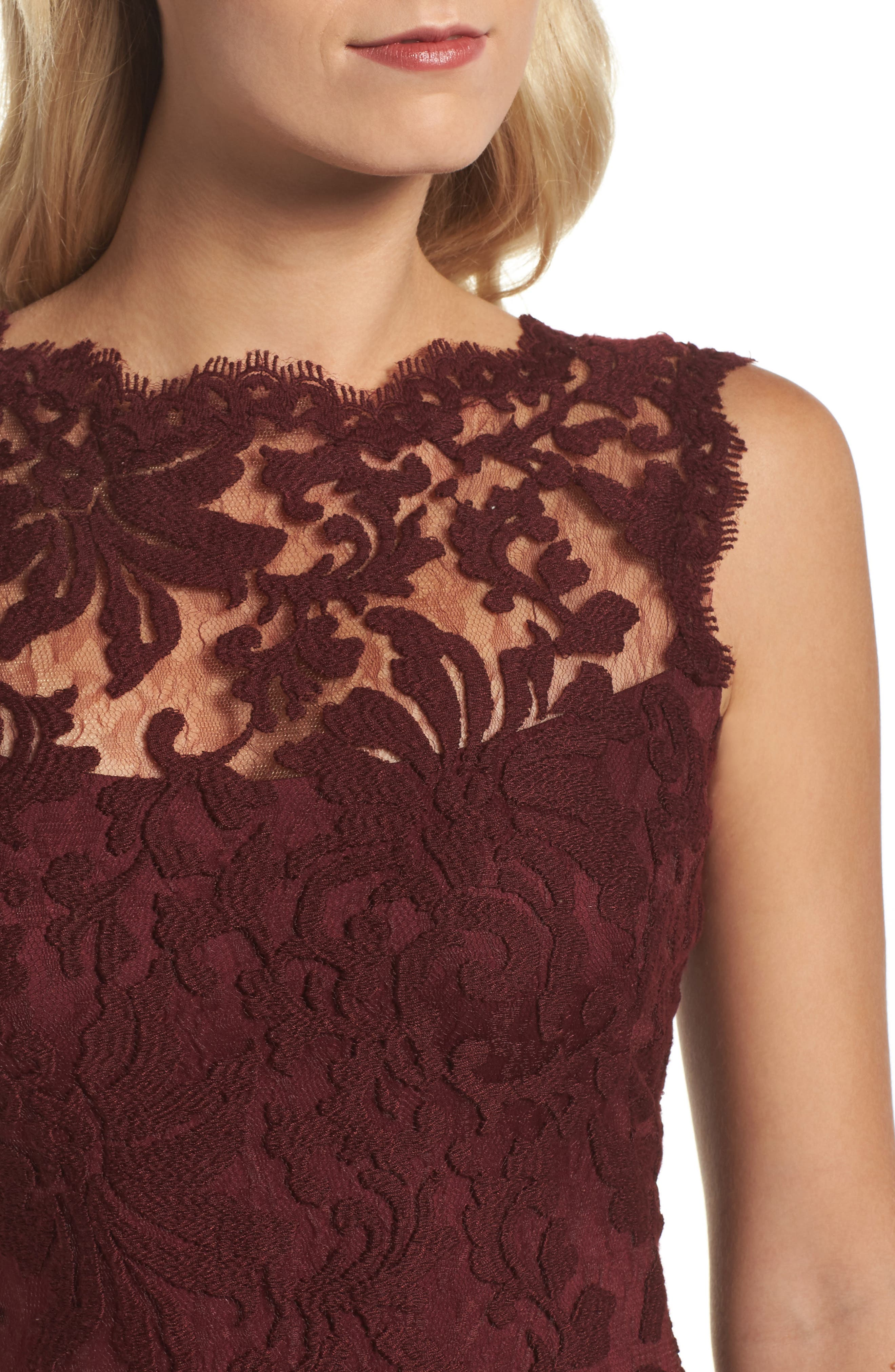 Embroidered Lace Sheath Dress,                             Alternate thumbnail 4, color,                             Auburn
