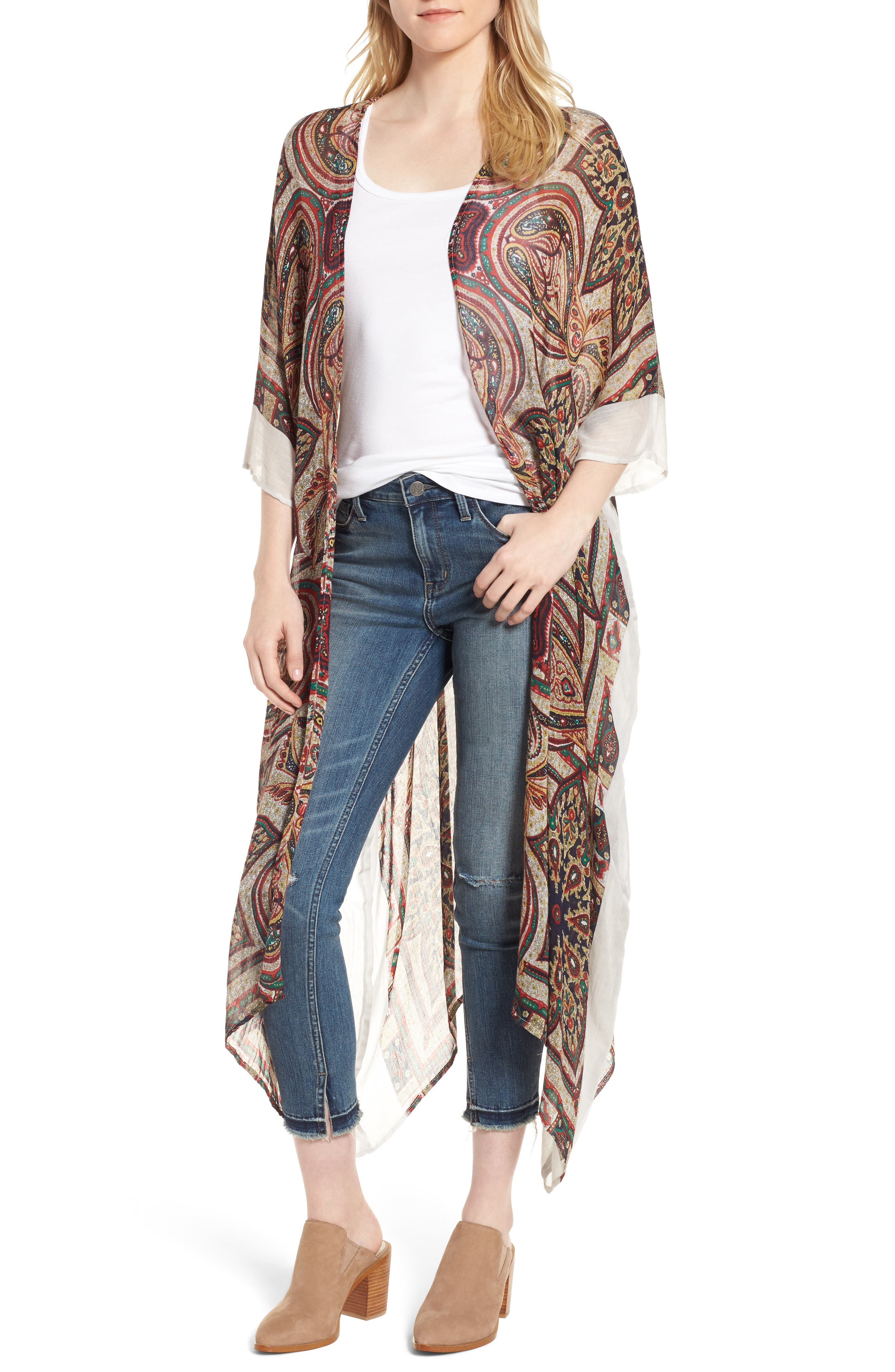 Alternate Image 1 Selected - Sole Society Paisley Print Kimono