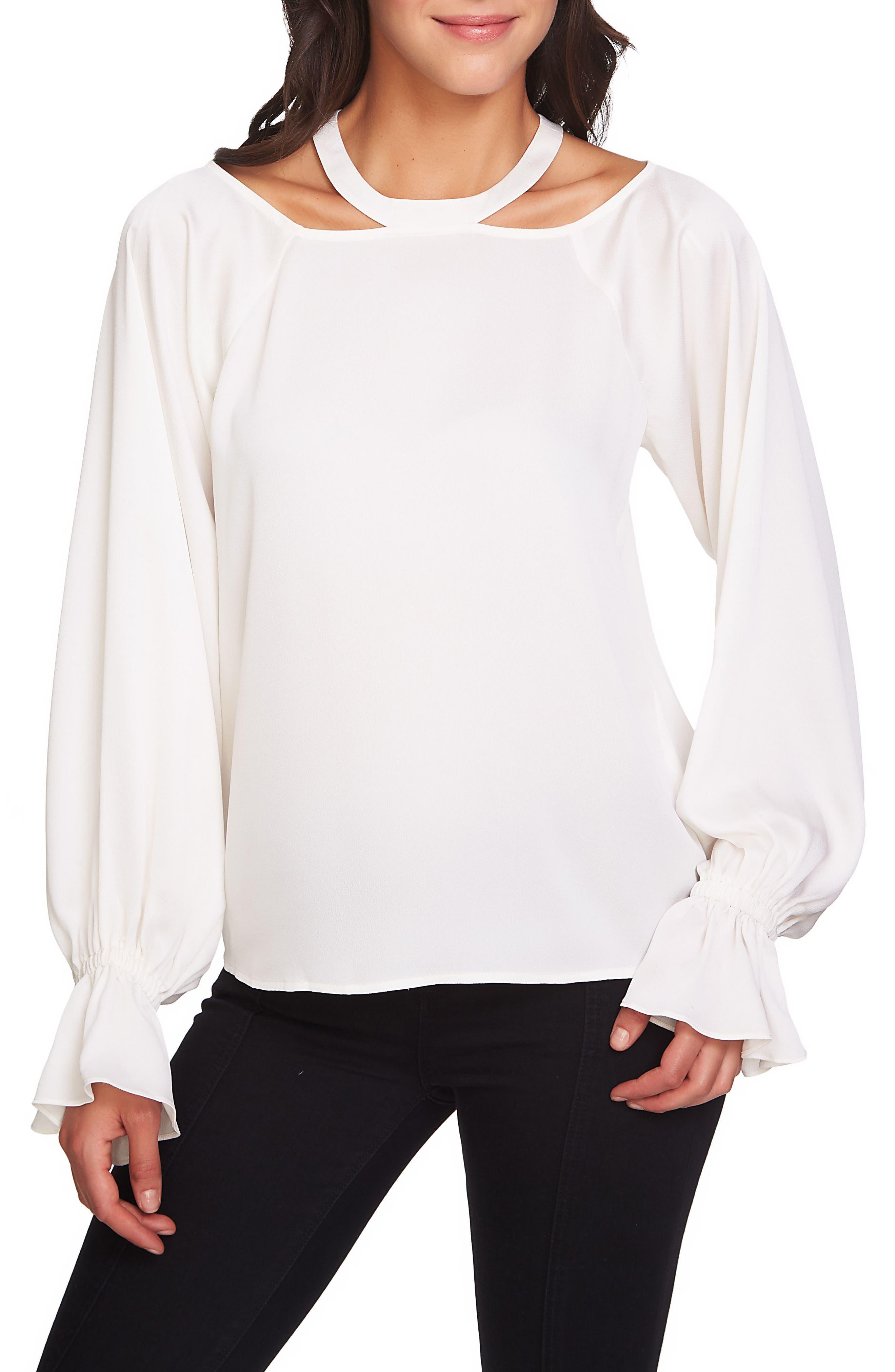 Cold Shoulder Satin Blouse,                         Main,                         color, Antique White