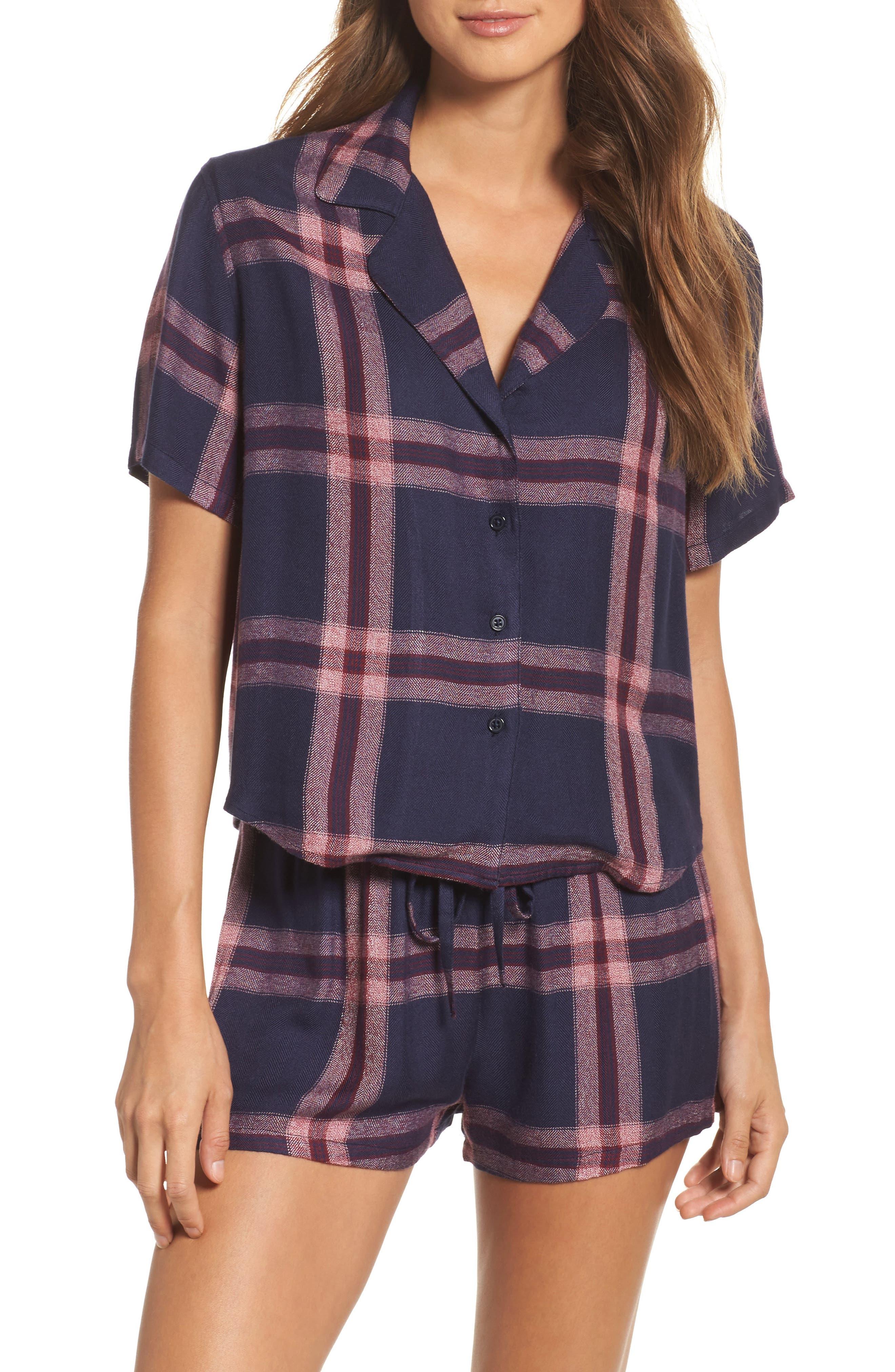 Plaid Short Pajamas,                         Main,                         color, Admiral/ Cranberry Melanage