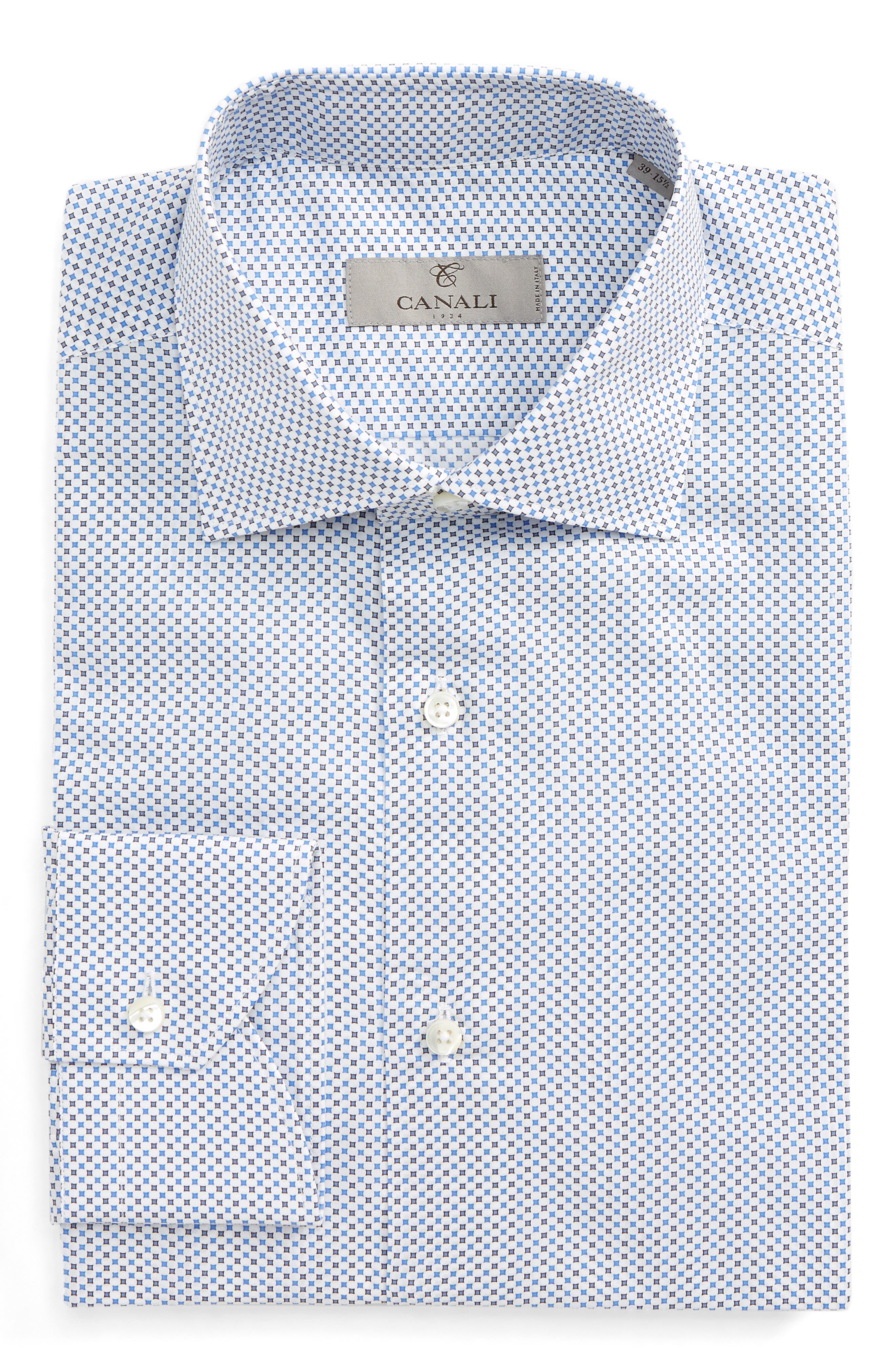 Regular Fit Print Dress Shirt,                             Main thumbnail 1, color,                             Light Blue