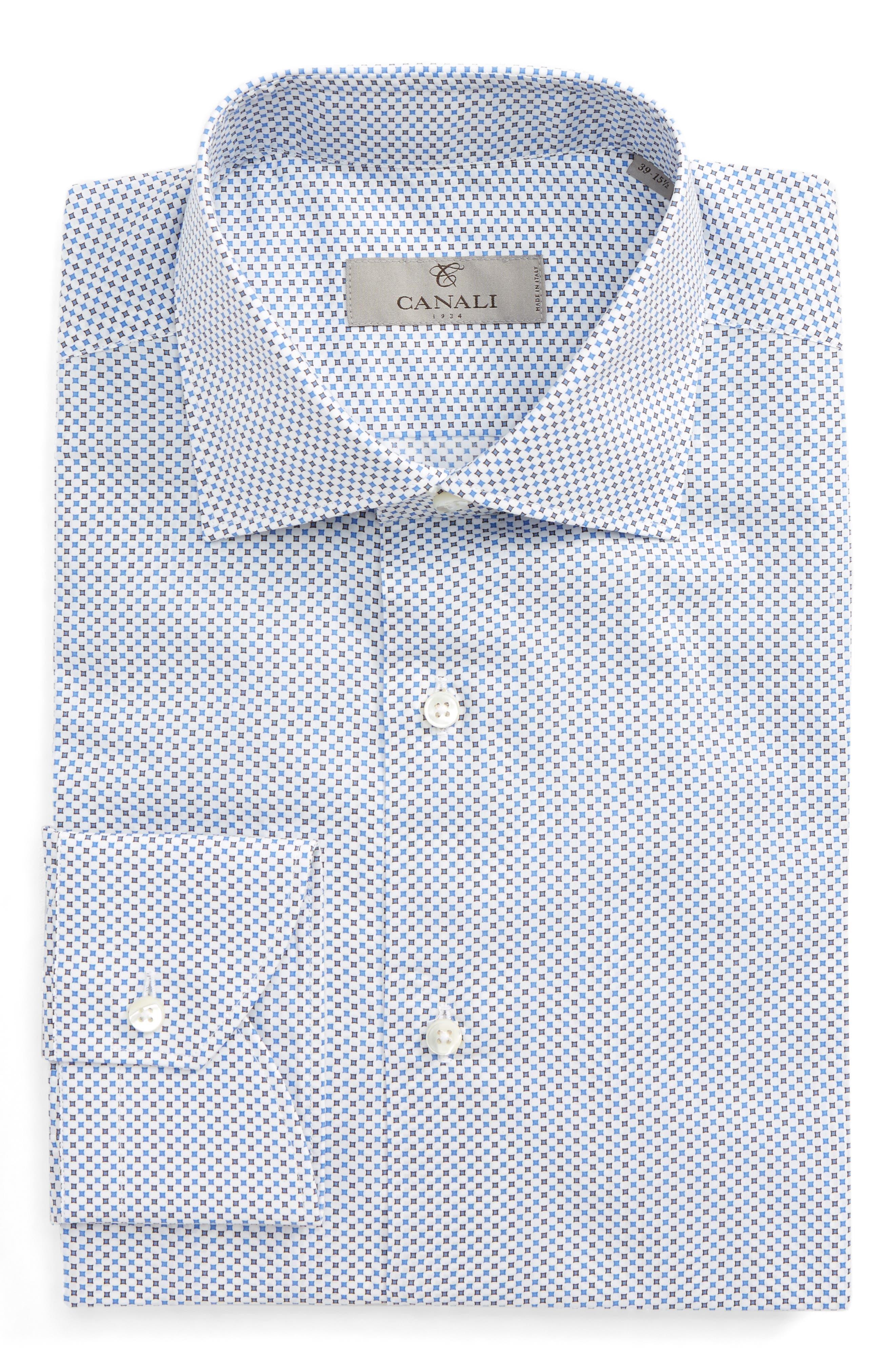 Regular Fit Print Dress Shirt,                         Main,                         color, Light Blue