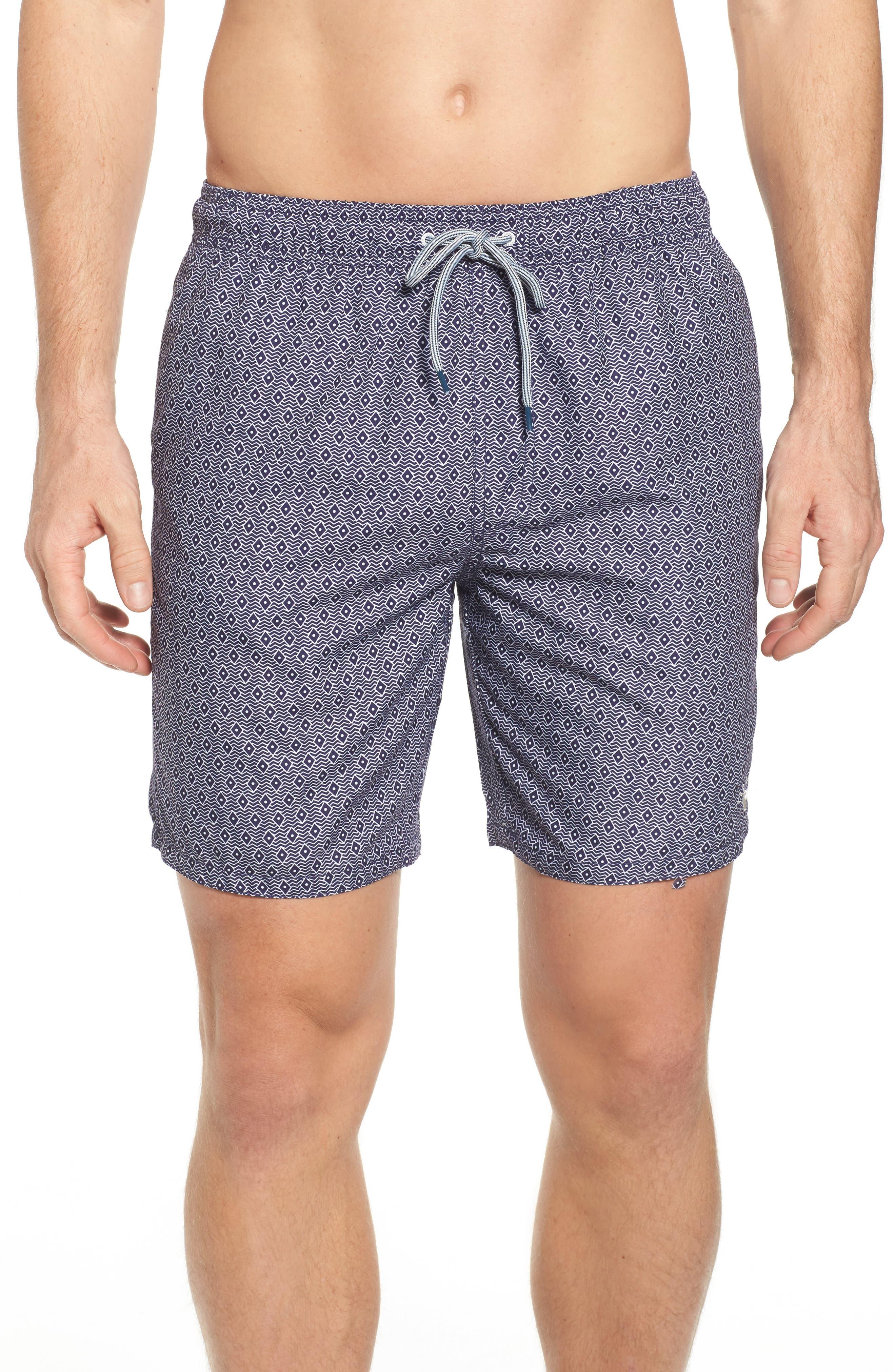 Seada Diamond Print Swim Shorts,                         Main,                         color, Navy