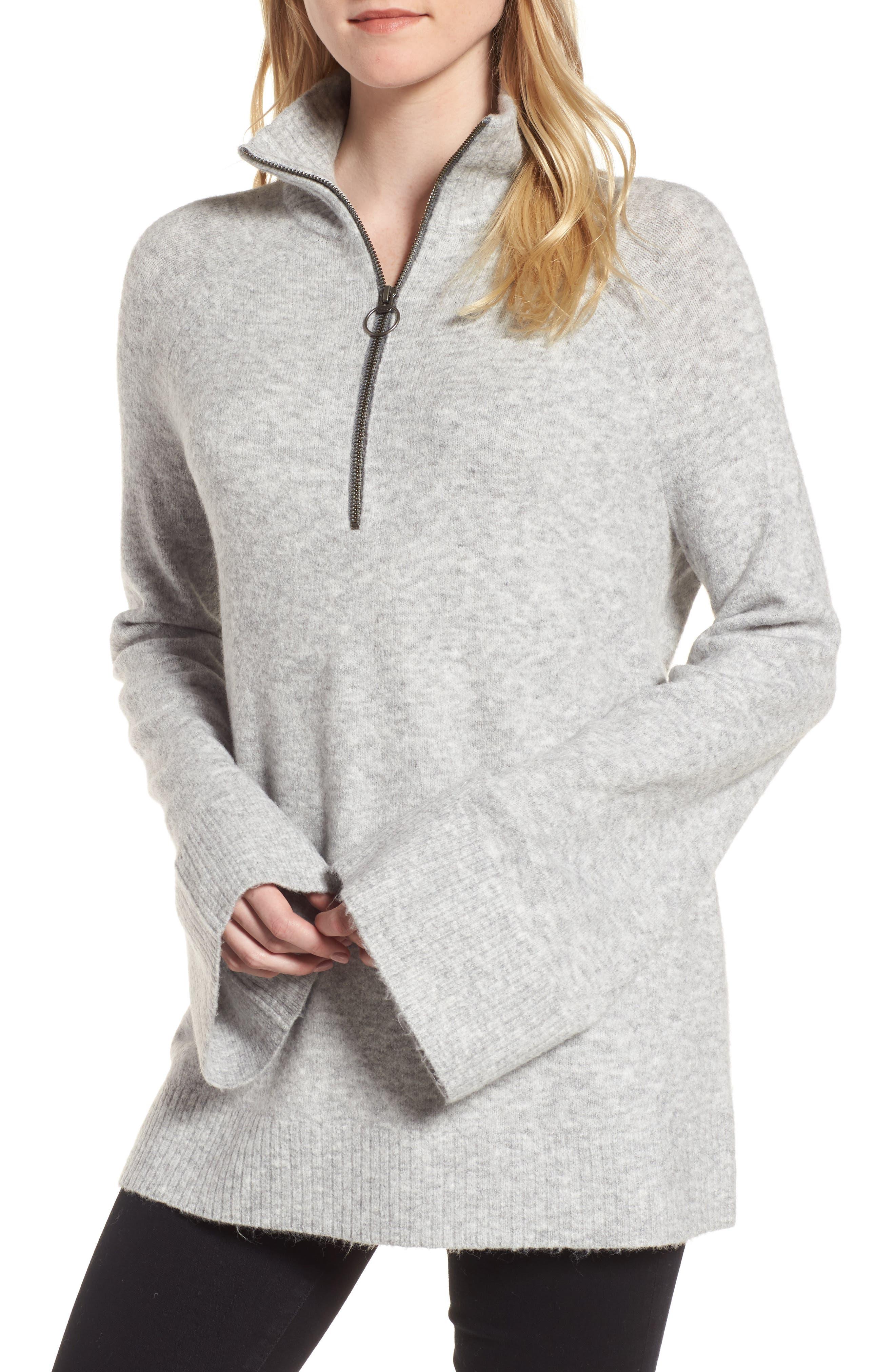 Half Zip Pullover,                             Main thumbnail 1, color,                             Grey Heather