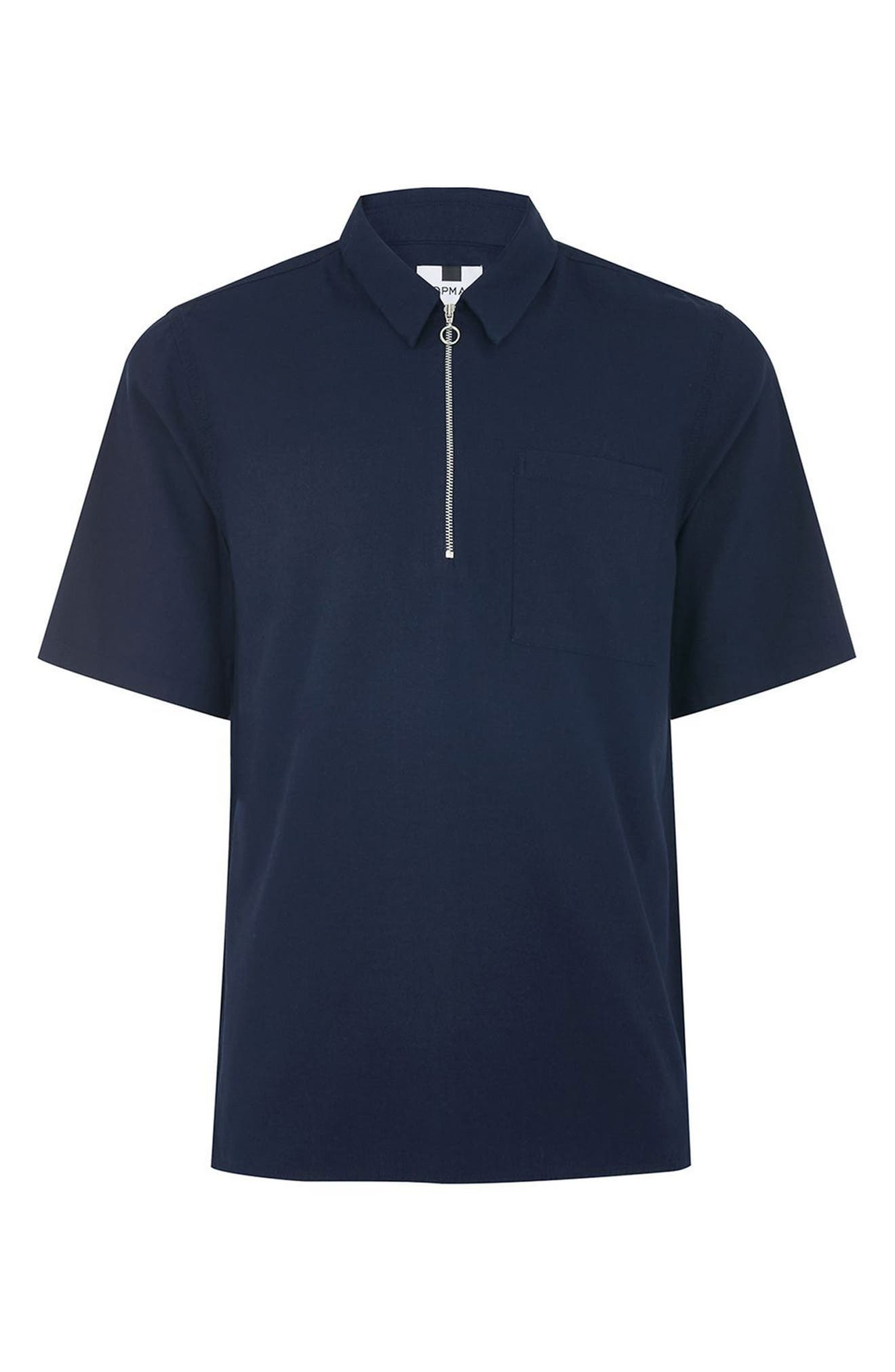 Modern Fit Zip Shirt,                             Alternate thumbnail 4, color,                             Navy