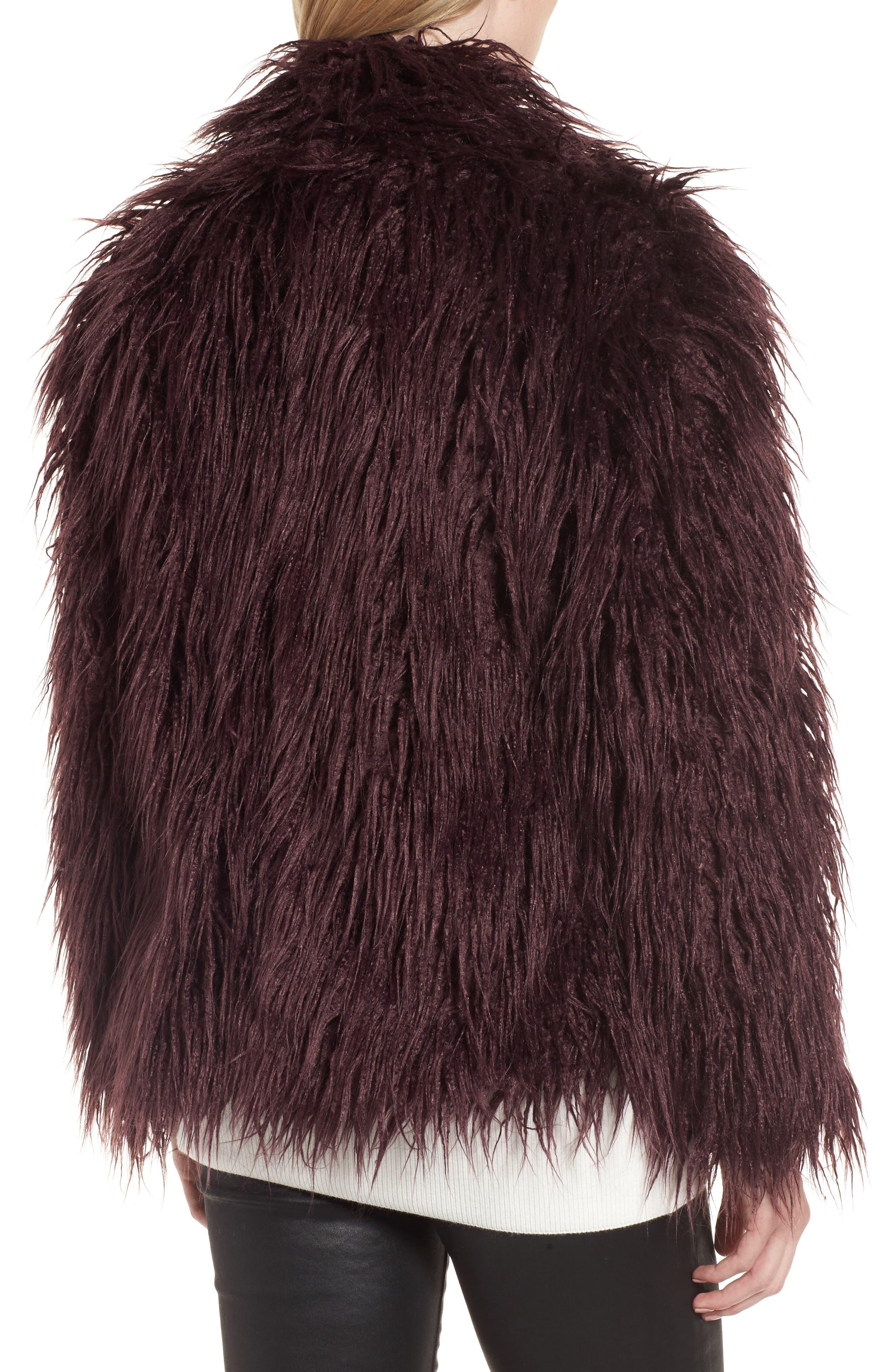 Shaggy Faux Fur Jacket,                             Alternate thumbnail 2, color,                             Burgundy Stem