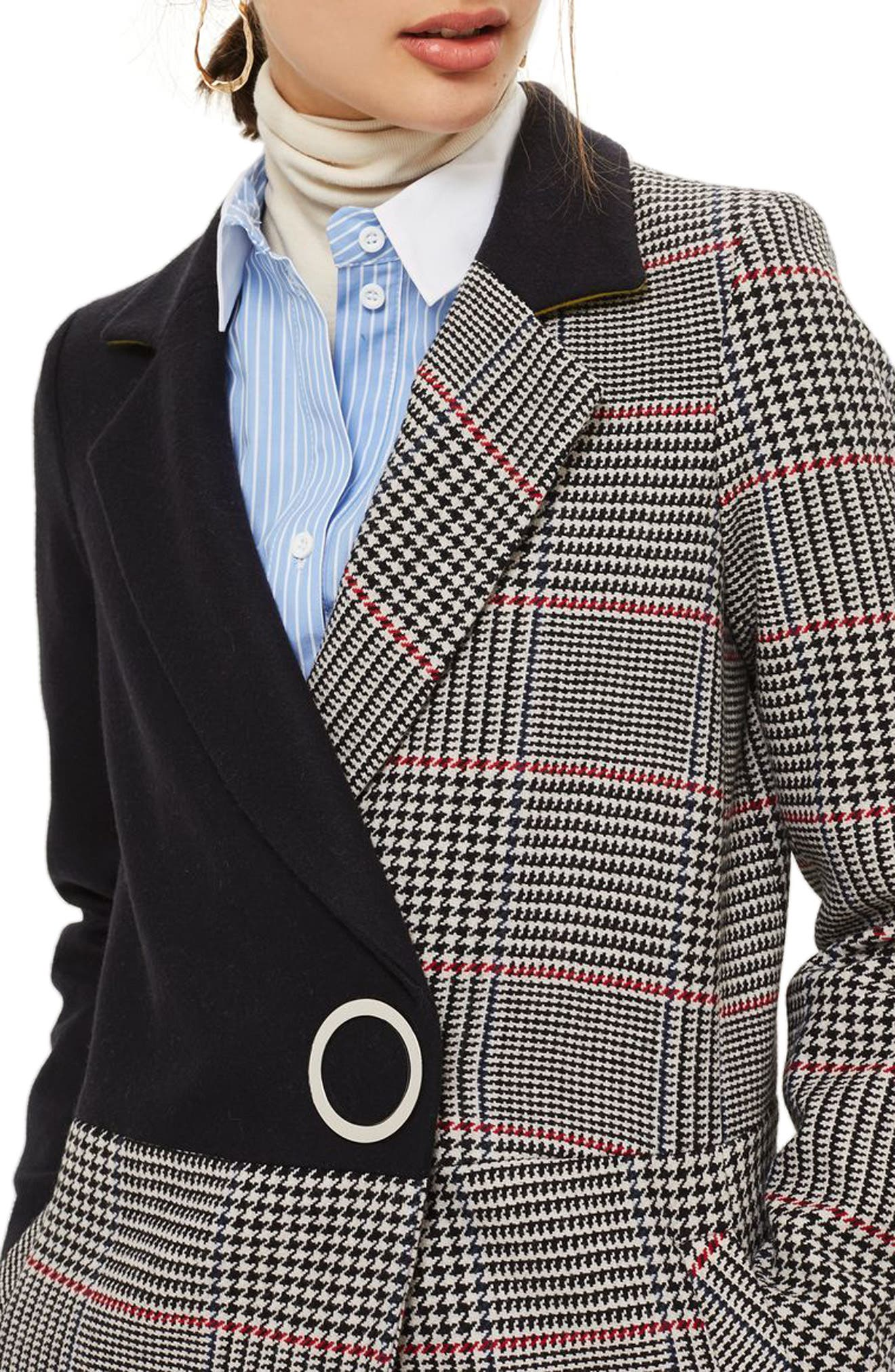 Colorblock Check Wool Blend Coat,                         Main,                         color, Navy Blue Multi