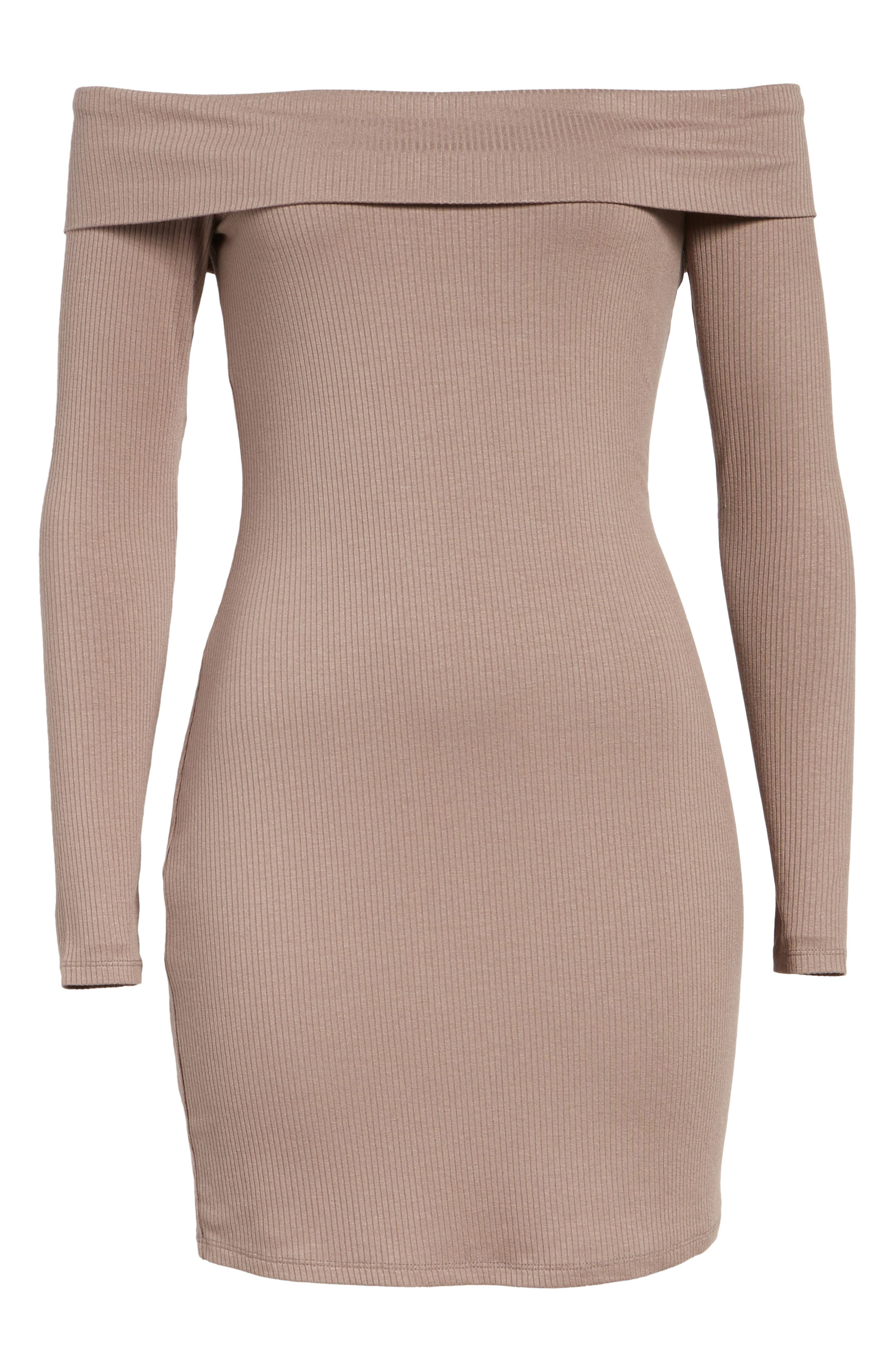 Silas Off the Shoulder Body-Con Dress,                             Alternate thumbnail 6, color,                             Warm Taupe