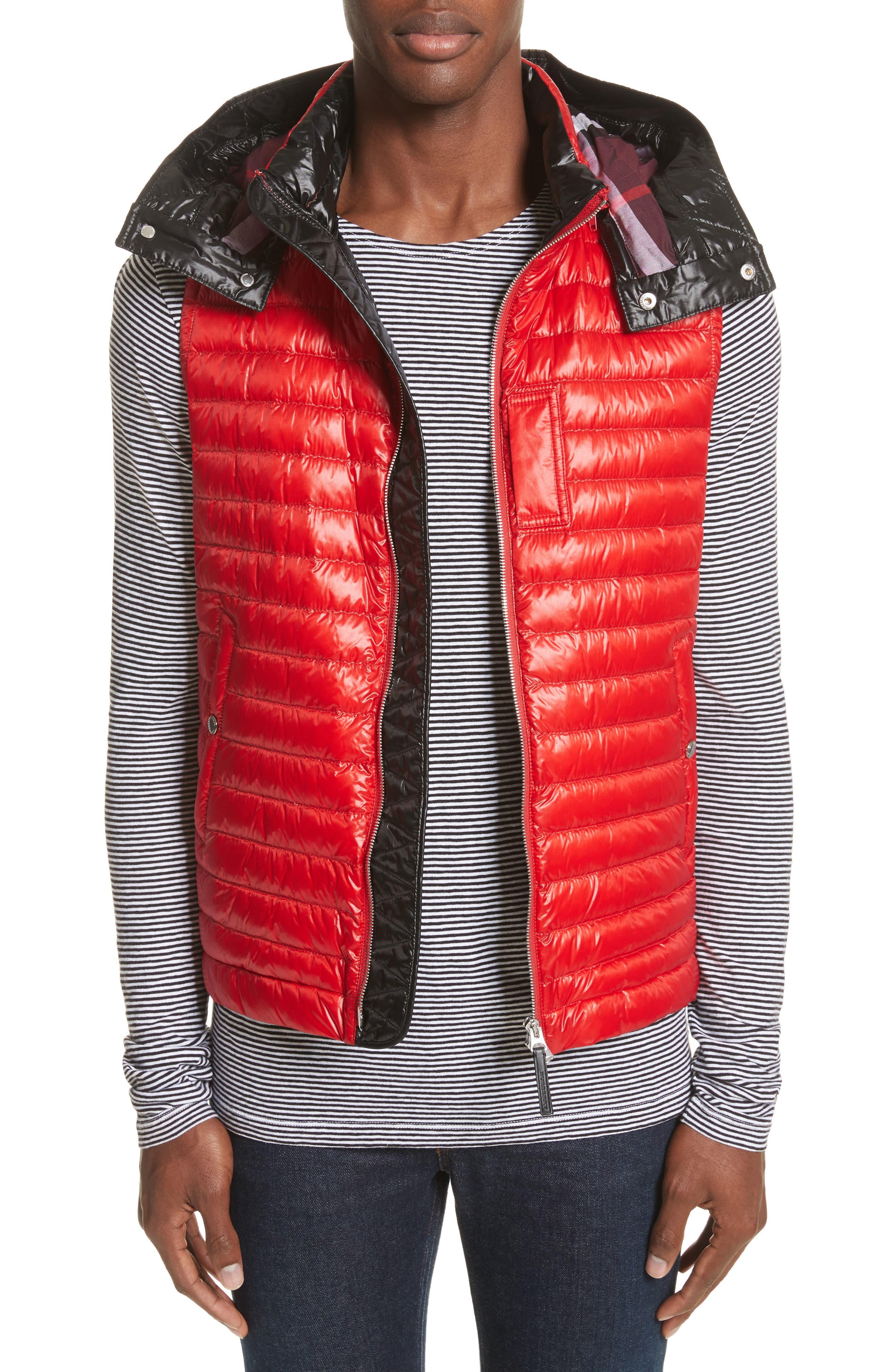 Burberry Aldridge Quilted Vest with Removable Hood