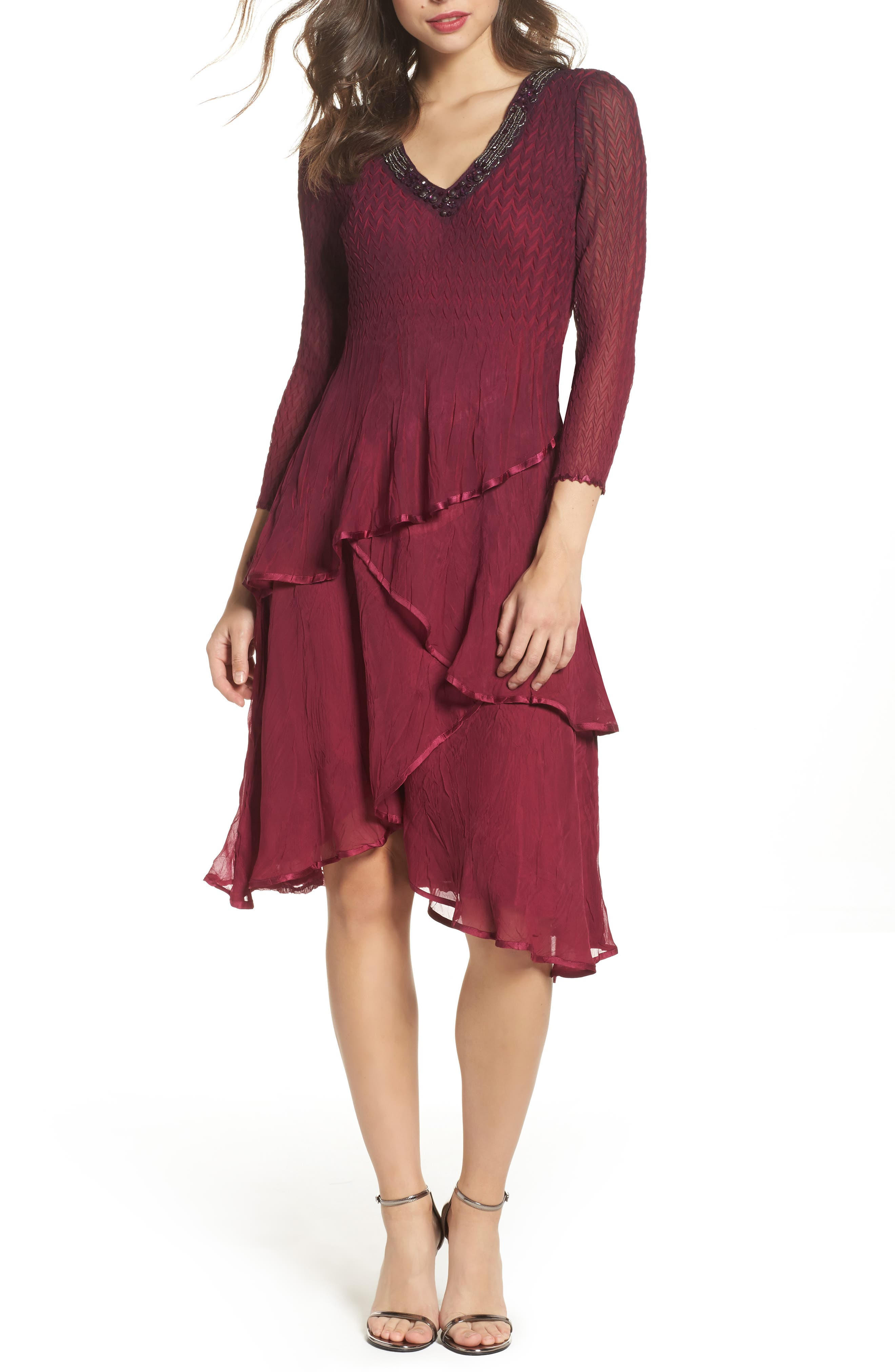 Tiered Ombré Charmeuse & Chiffon Dress,                             Main thumbnail 1, color,                             Red Plum Blue Ombre