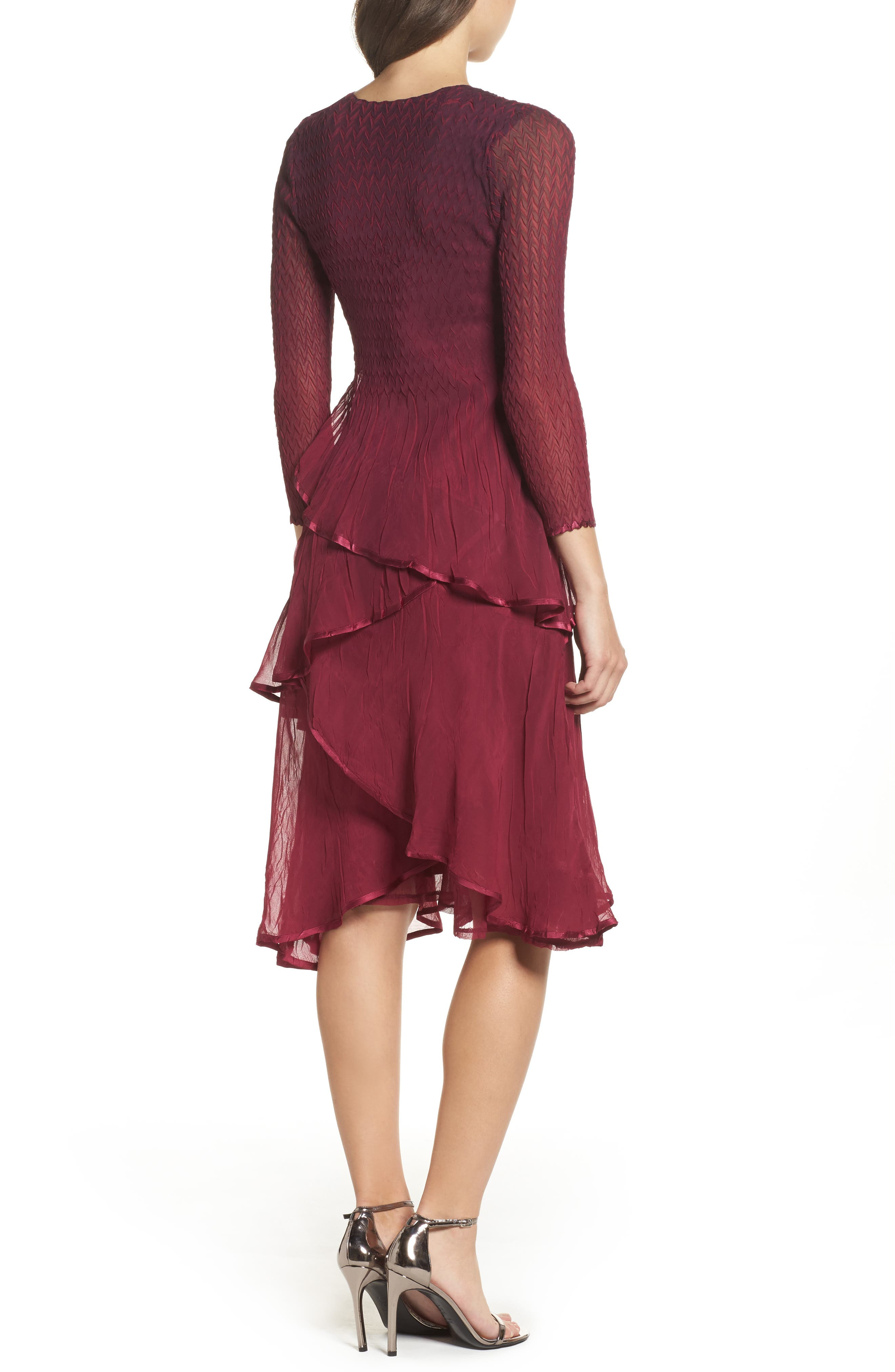 Tiered Ombré Charmeuse & Chiffon Dress,                             Alternate thumbnail 2, color,                             Red Plum Blue Ombre