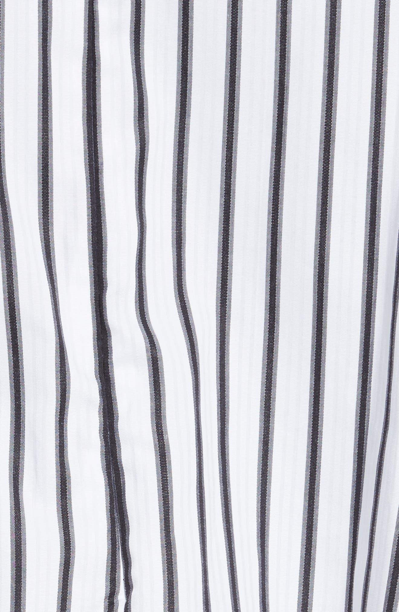 Carmen Ruffle Off the Shoulder Top,                             Alternate thumbnail 5, color,                             White/ Black