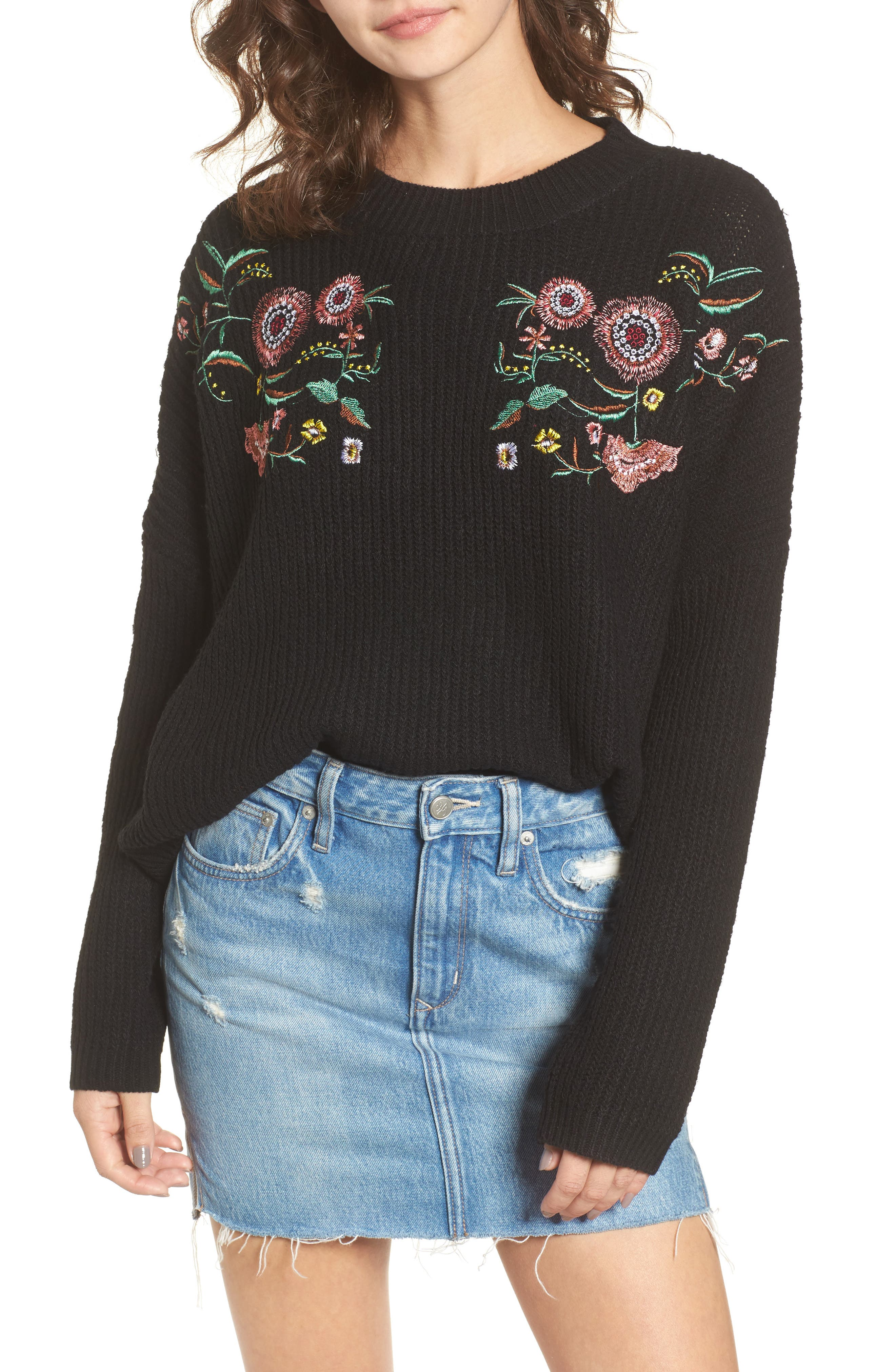 Embroidered Floral Sweater,                         Main,                         color, Black