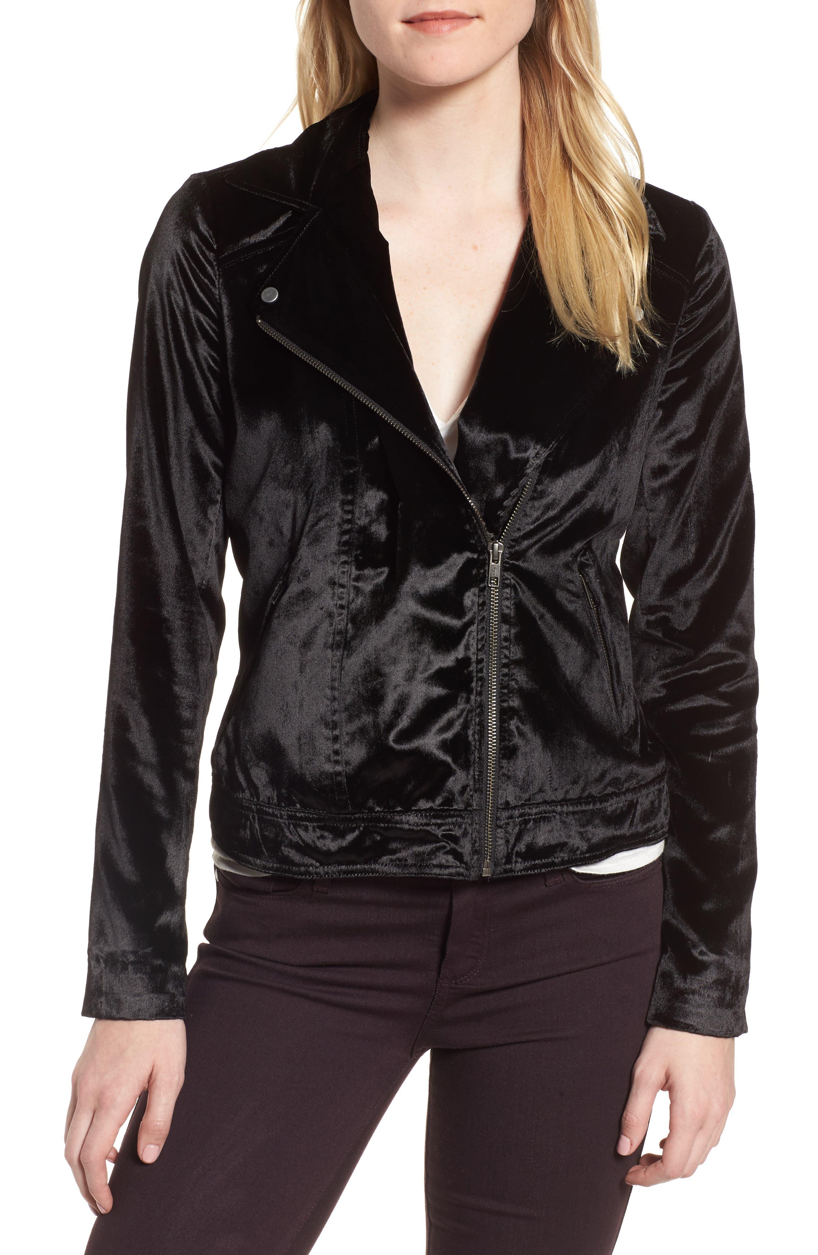 Velvet Moto Jacket,                         Main,                         color, Black