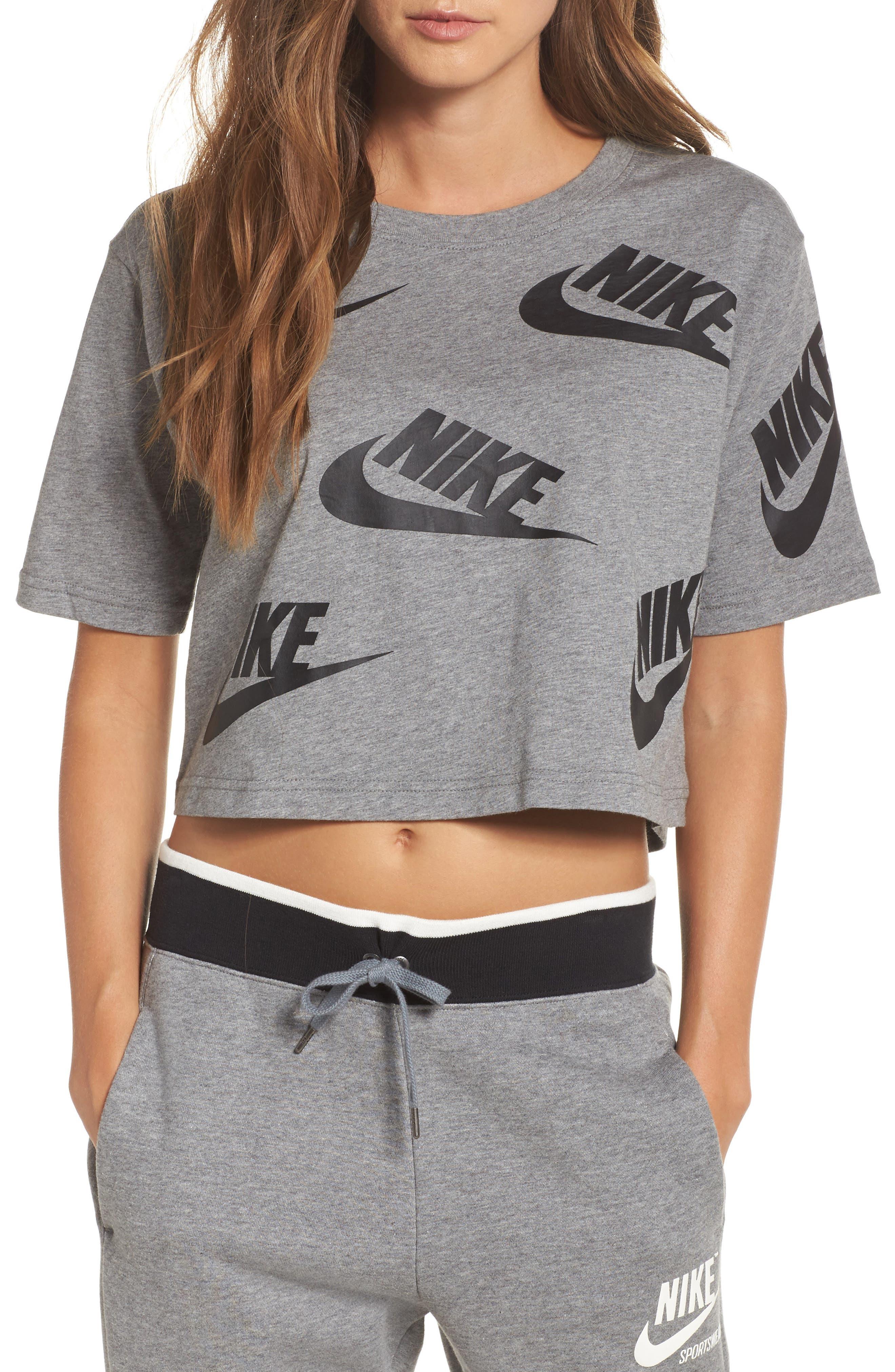 Sportswear Futura Crop Tee,                         Main,                         color, Carbon Heather/ Black