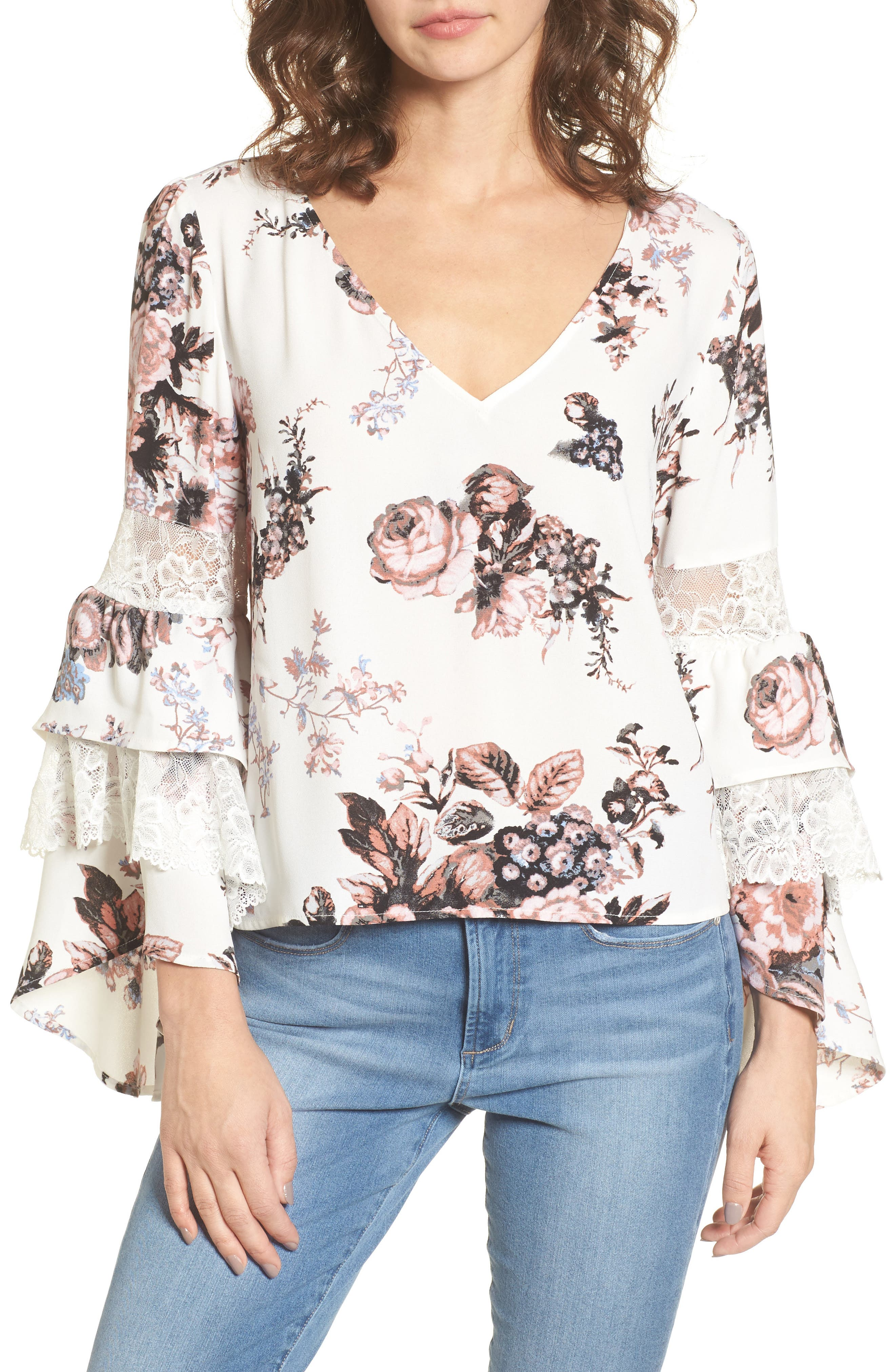 Ruffle Bell Sleeve Top,                             Main thumbnail 1, color,                             White Snow Photo Real Floral