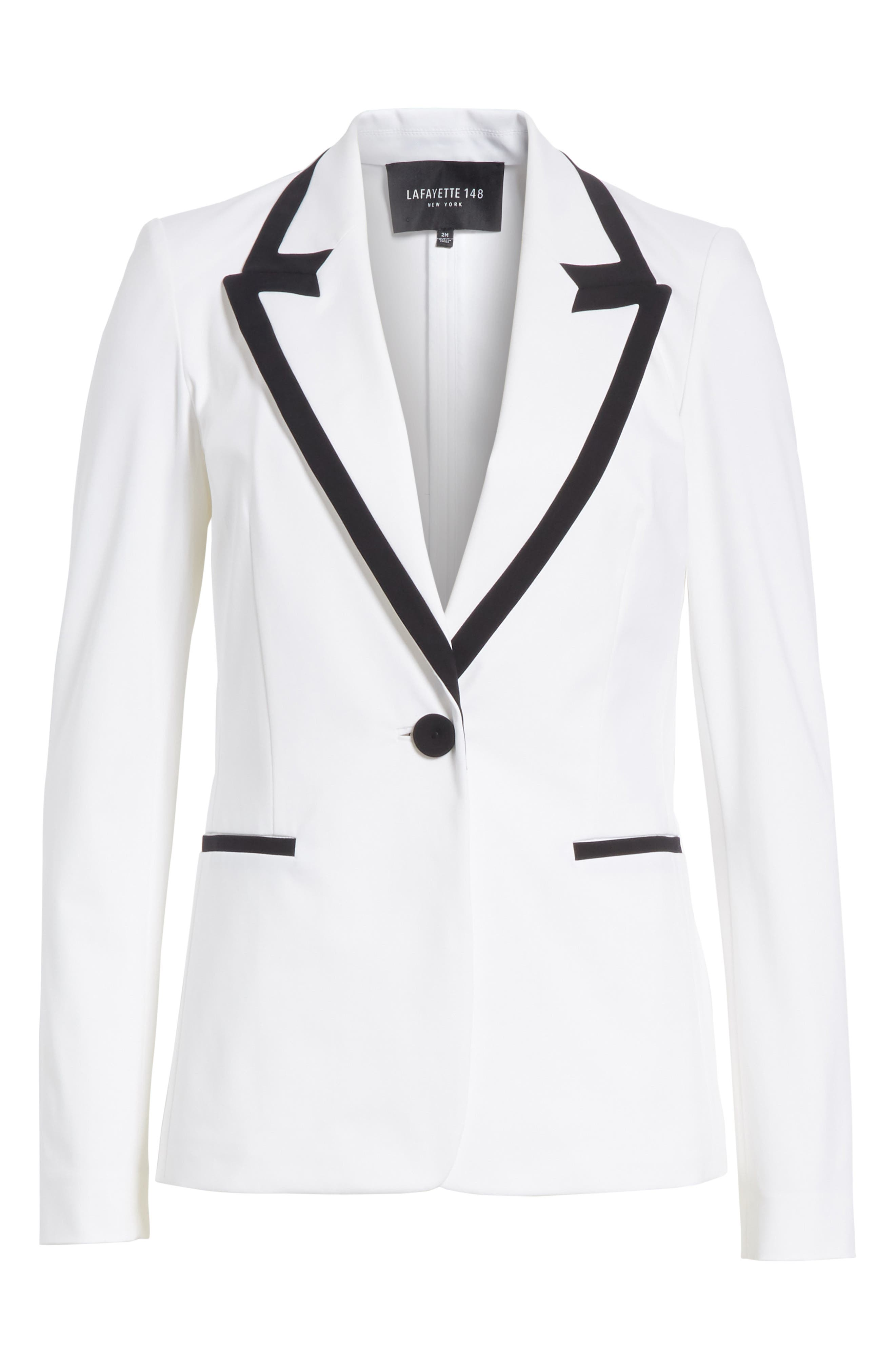 Briley Cotton Blend Blazer,                             Alternate thumbnail 4, color,                             White