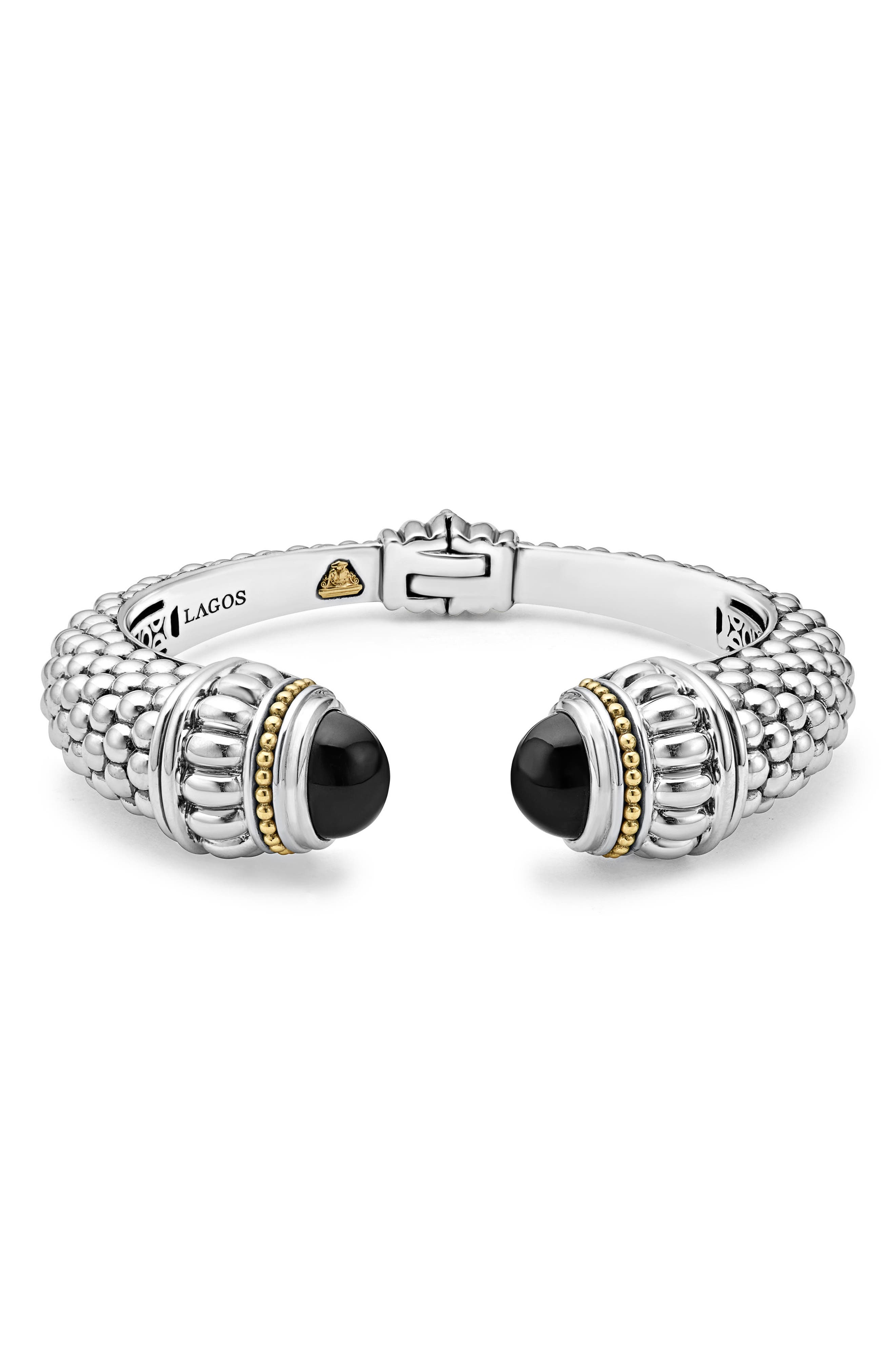 Caviar Color Hinge Wrist Cuff,                             Main thumbnail 1, color,                             Black Onyx