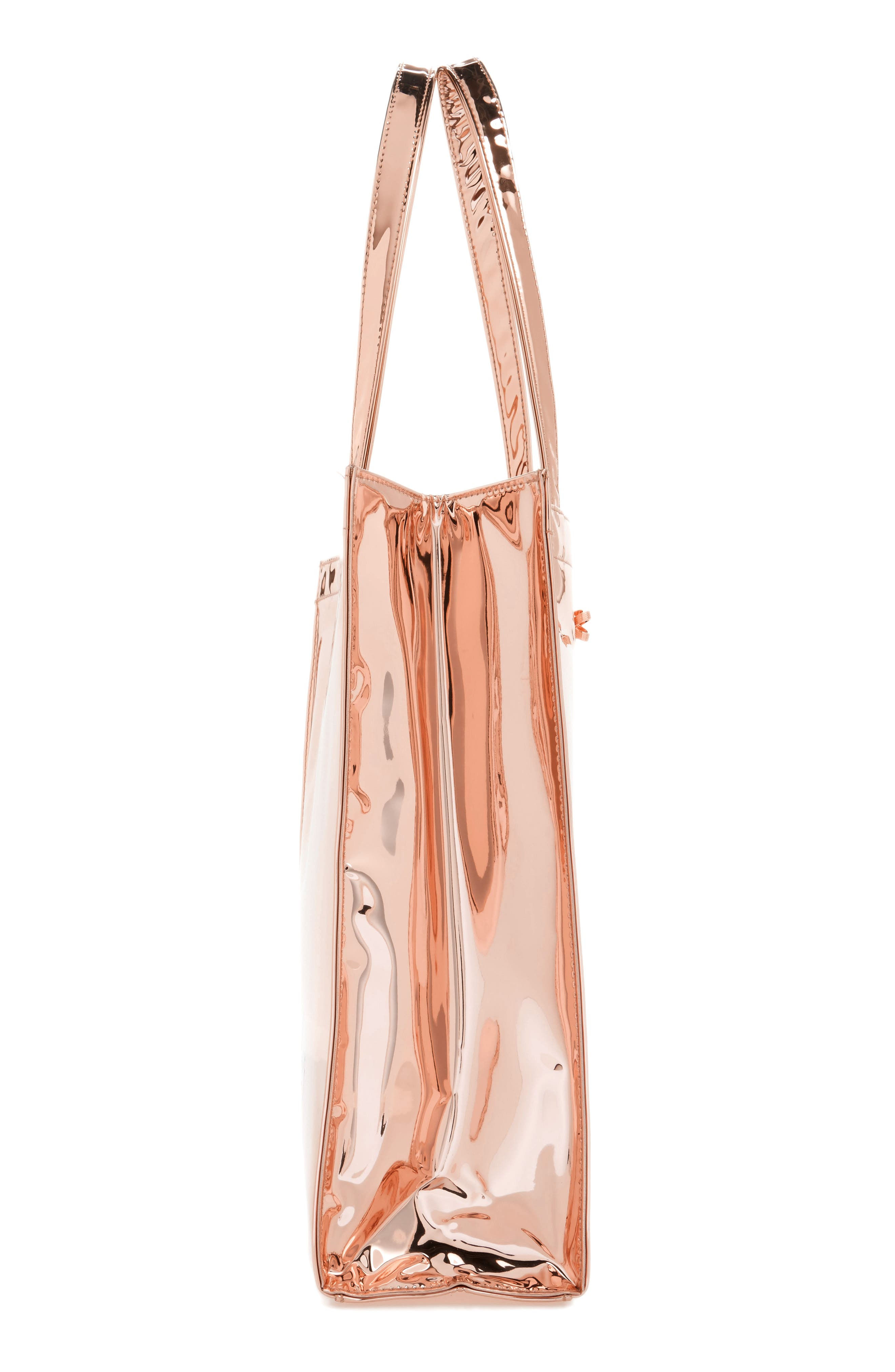 Jencon Mirrored Large Icon Tote,                             Alternate thumbnail 4, color,                             Rose Gold