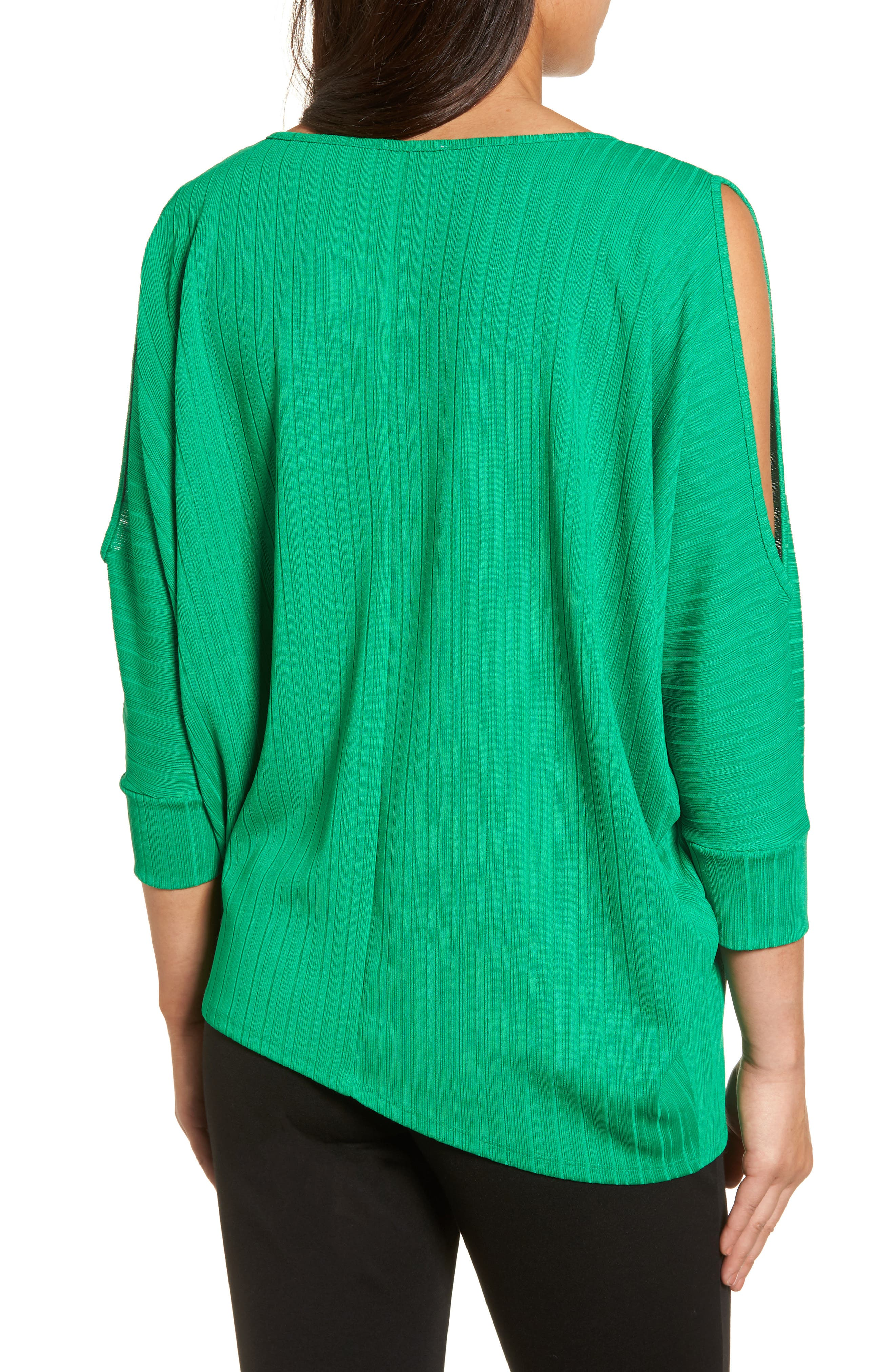 Ribbed Knit Cold Shoulder Top,                             Alternate thumbnail 2, color,                             Bright Amazon