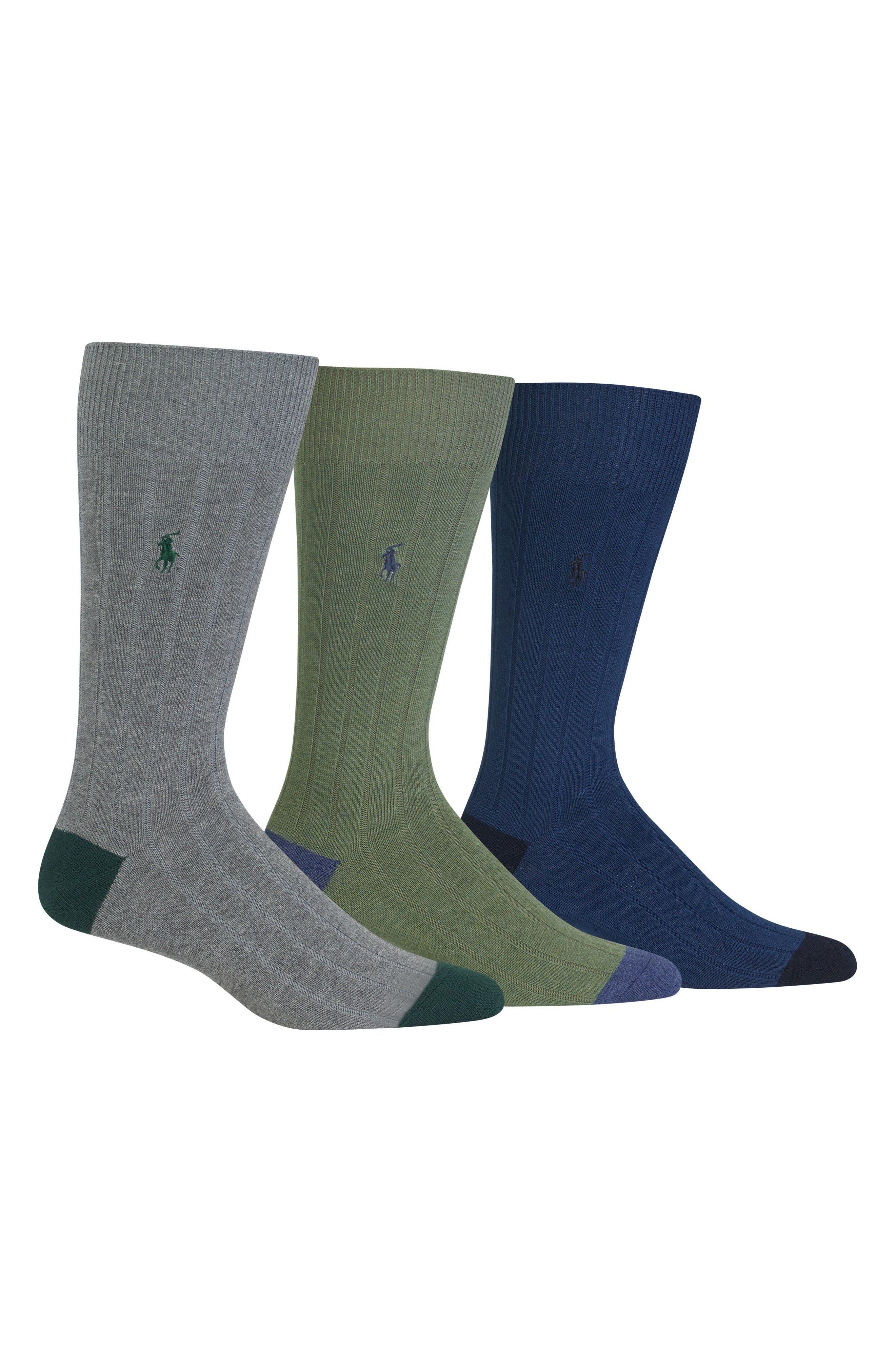 3-Pack Ribbed Socks,                         Main,                         color, Grey Green