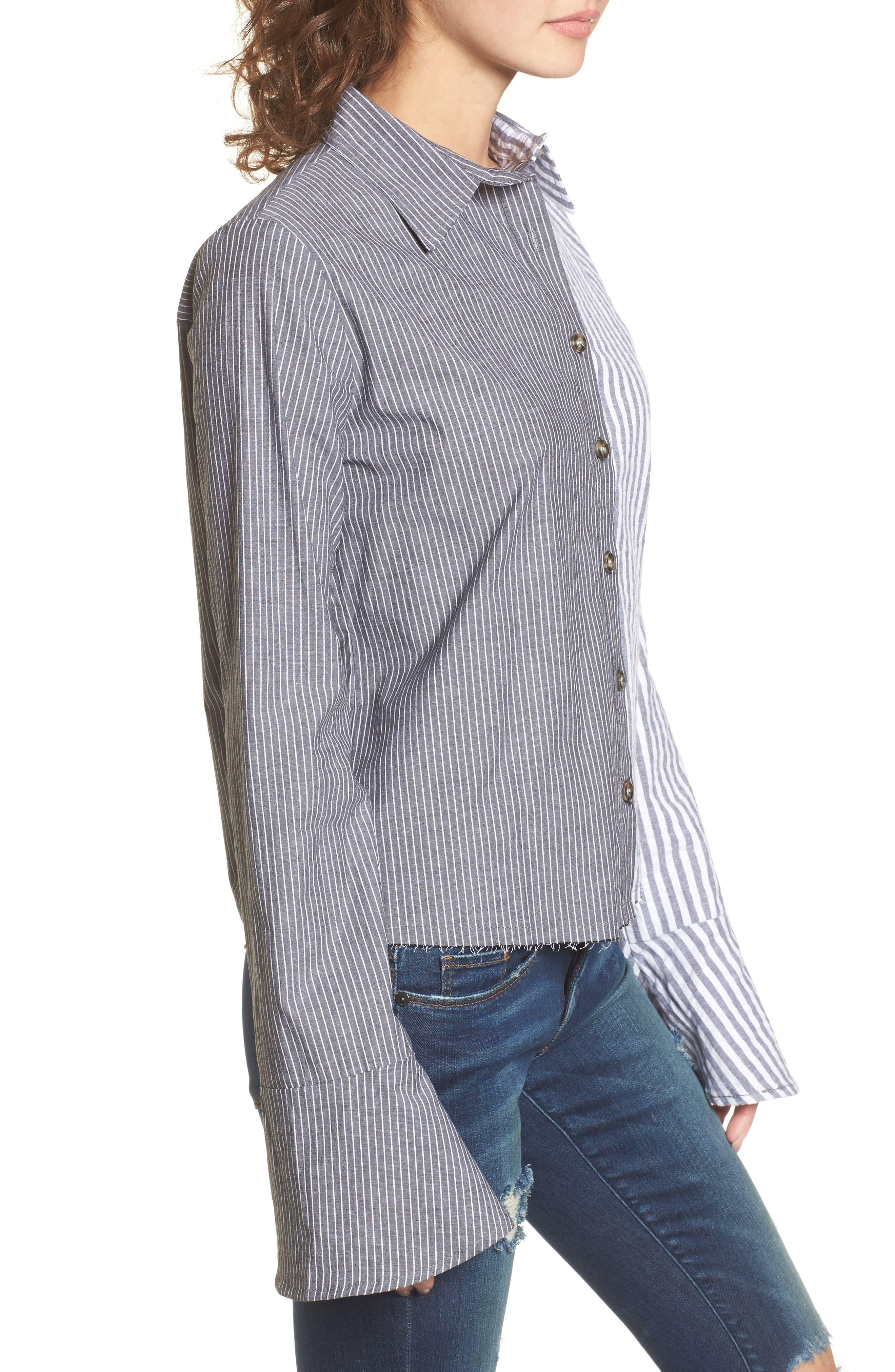 Mismatch Stripe Shirt,                             Alternate thumbnail 3, color,                             Stripe