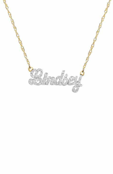 nameplate necklace com hammered name gold disc personalized bar layering amazon dp plate