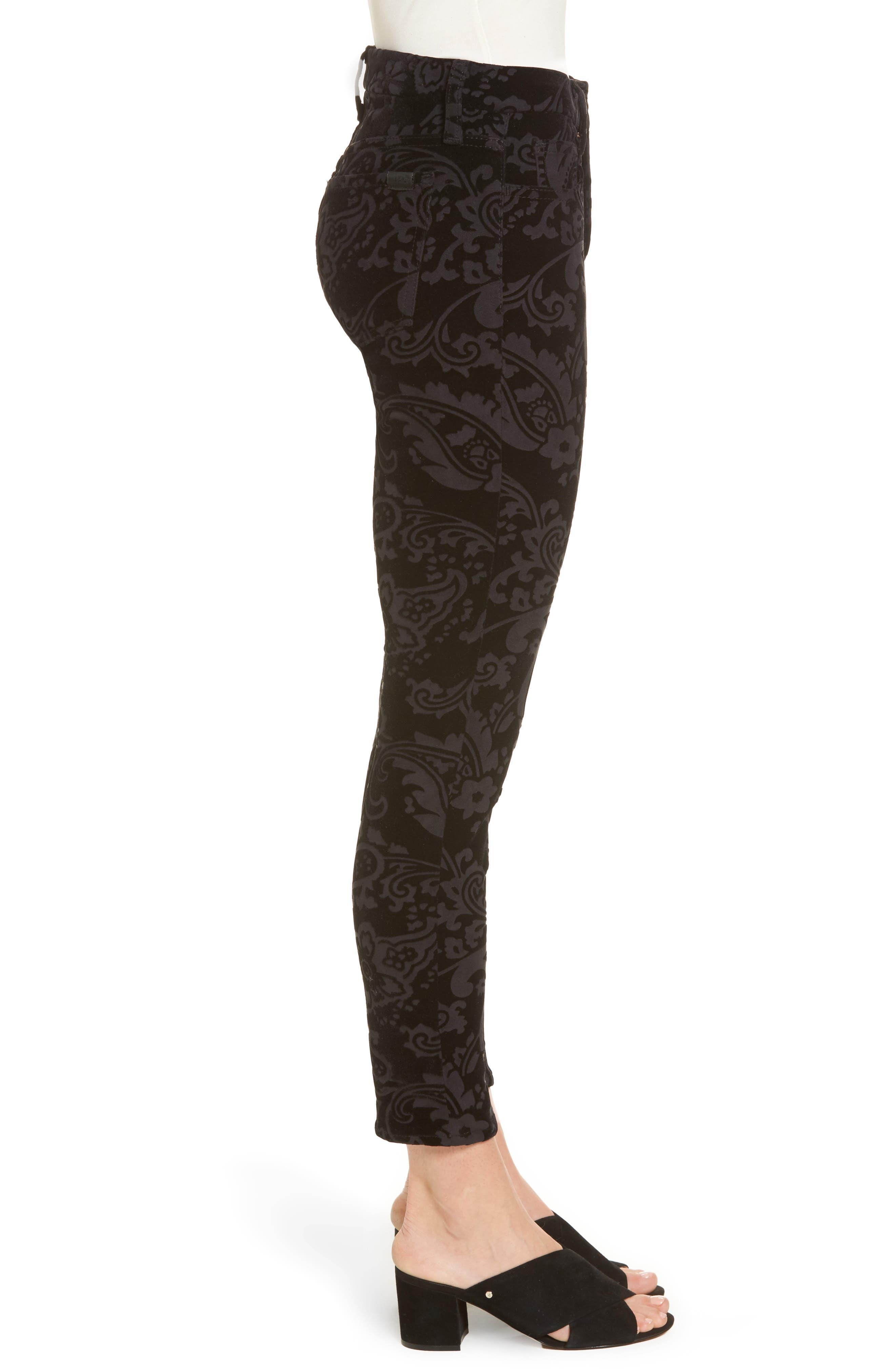 Paisley Velvet Ankle Skinny Jeans,                             Alternate thumbnail 3, color,                             Black