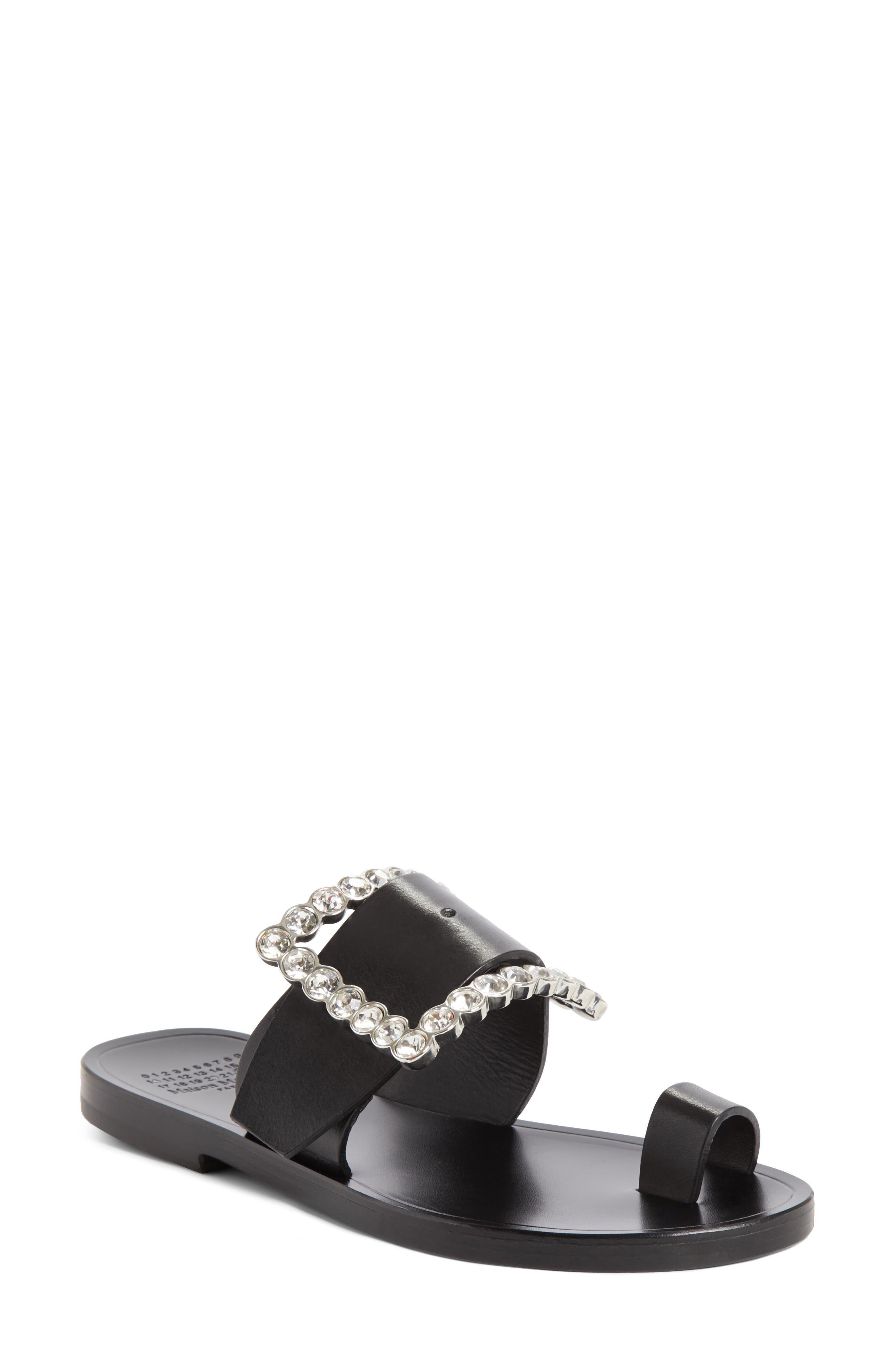 Jeweled Flat Sandal,                         Main,                         color, Black
