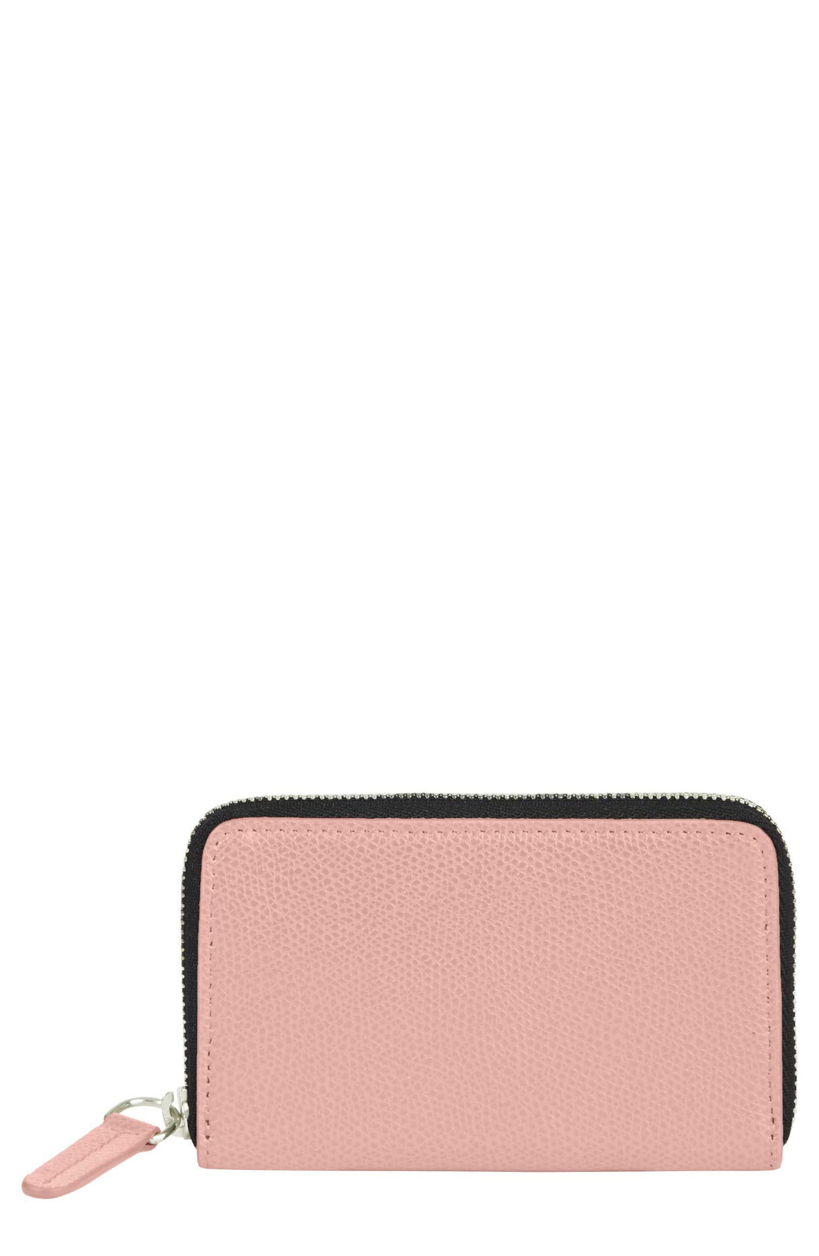 Pebbled Leather Card Wallet,                             Main thumbnail 1, color,                             Blush